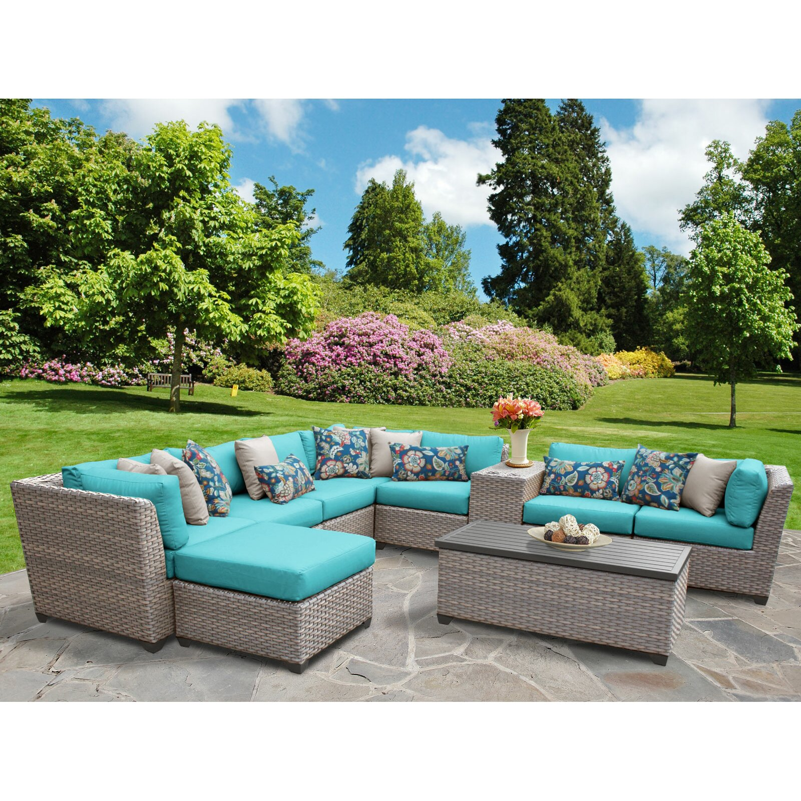 TK Classics Florence Outdoor Wicker Patio 10 Piece Deep