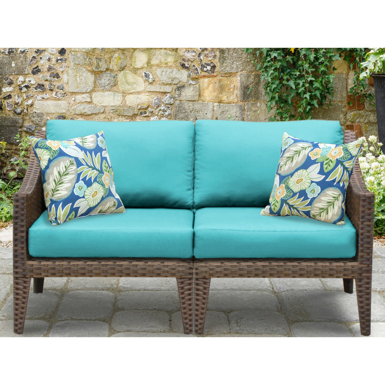 TK Classics Manhattan 2 Piece Outdoor Wicker Patio