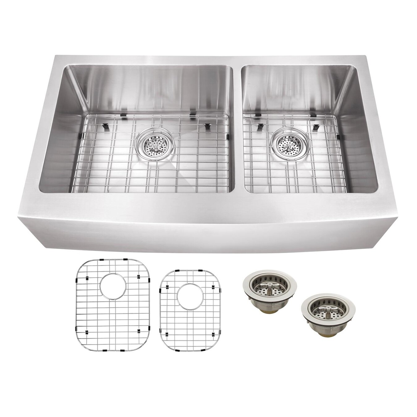 Soleil X Stainless Steel 16 Gauge Apron Front 60 40 Double Bowl Kitchen Sink