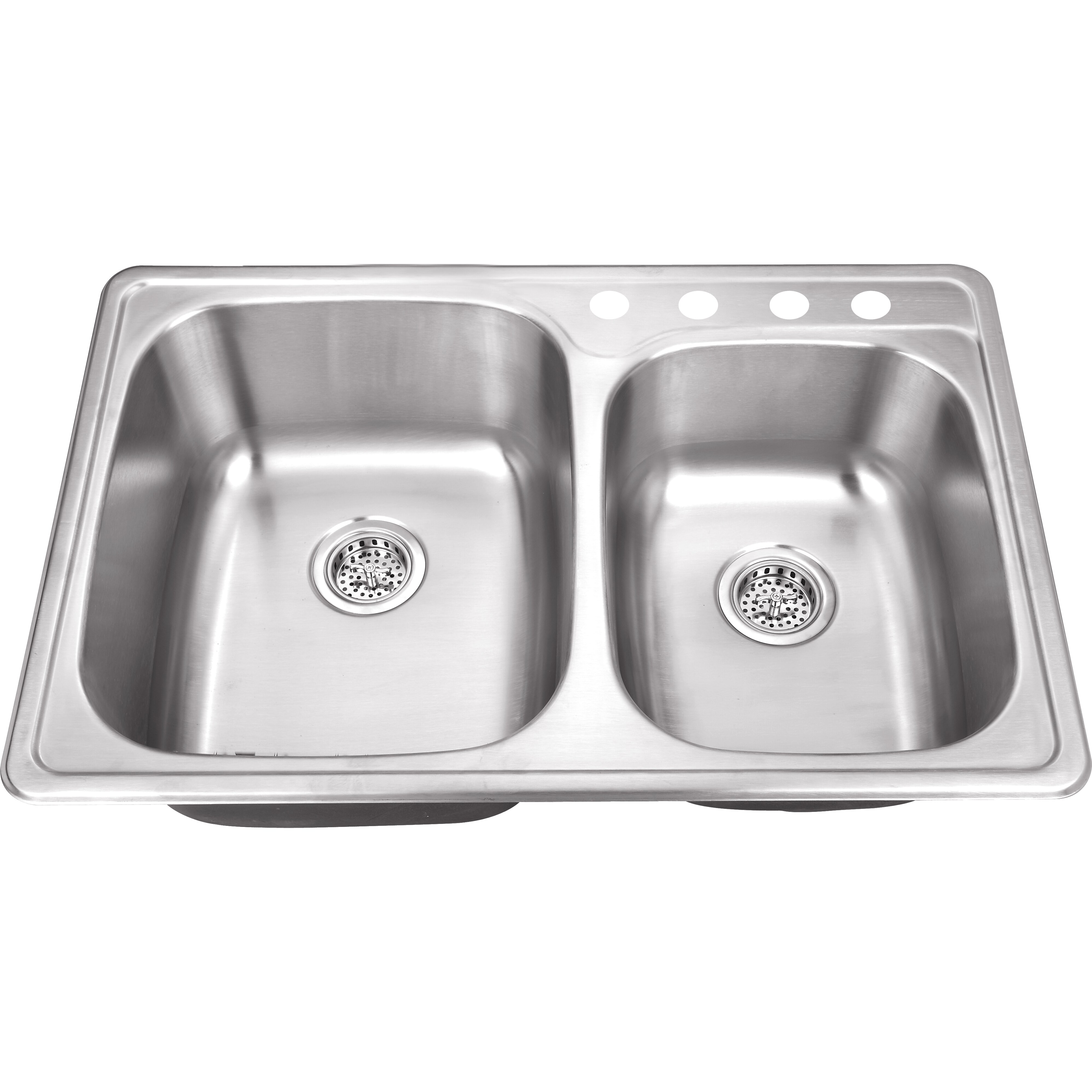 "Drop In Stainless Steel Kitchen Sinks: Soleil 33"" X 22"" Stainless Steel Drop In Double Bowl"