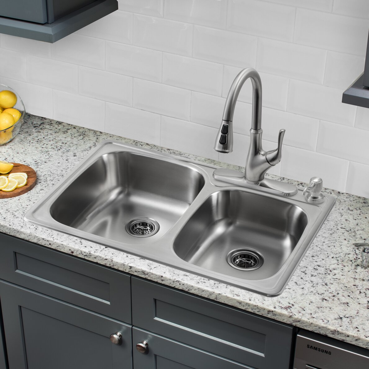 Soleil 3313 X 22 Double Bowl Drop In Kitchen Sink With