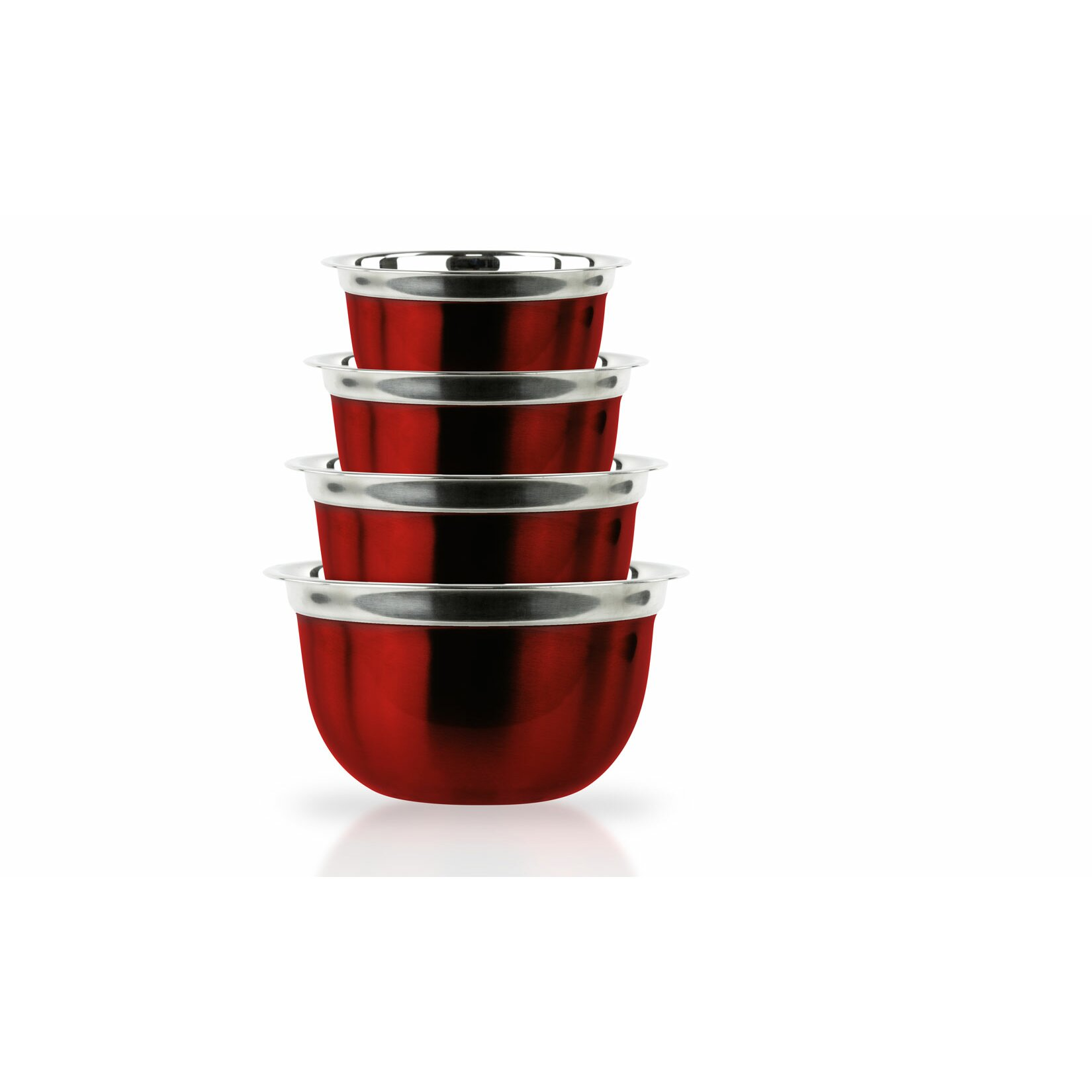 imperial home 4 piece red stainless steel bowl set reviews wayfair. Black Bedroom Furniture Sets. Home Design Ideas
