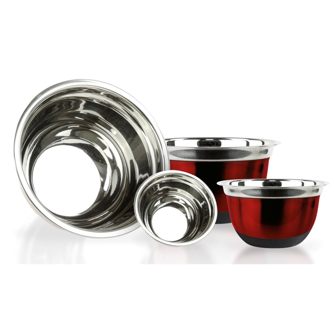 imperial home 4 piece stainless steel mixing bowl set reviews wayfair. Black Bedroom Furniture Sets. Home Design Ideas