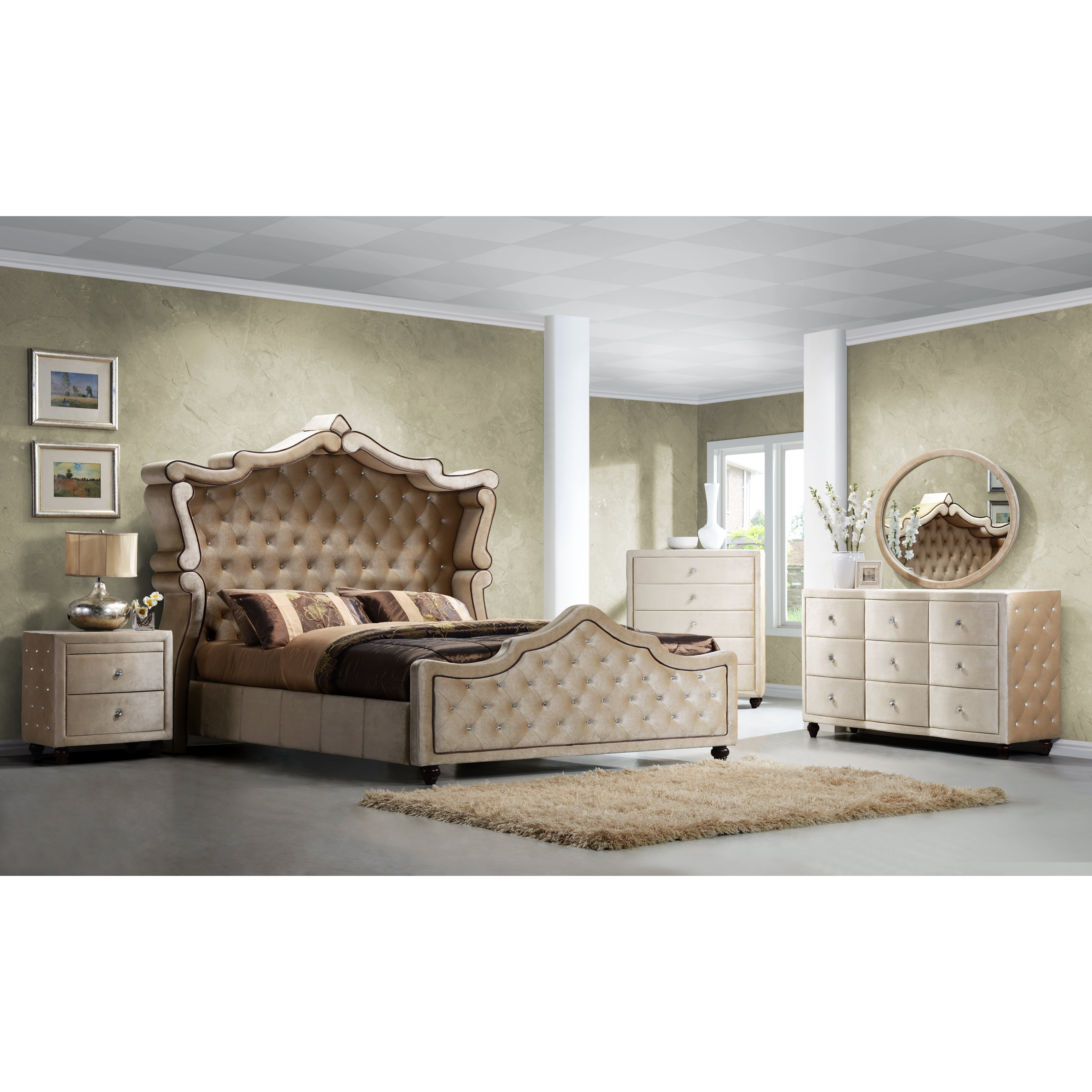 Meridian Furniture USA Diamond Panel Customizable Bedroom