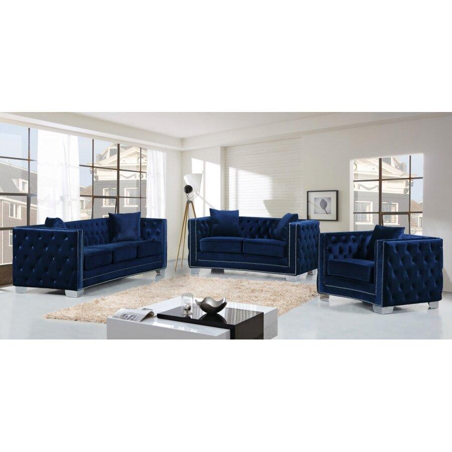Meridian furniture usa reese velvet sofa reviews wayfair for Navy blue sofa set