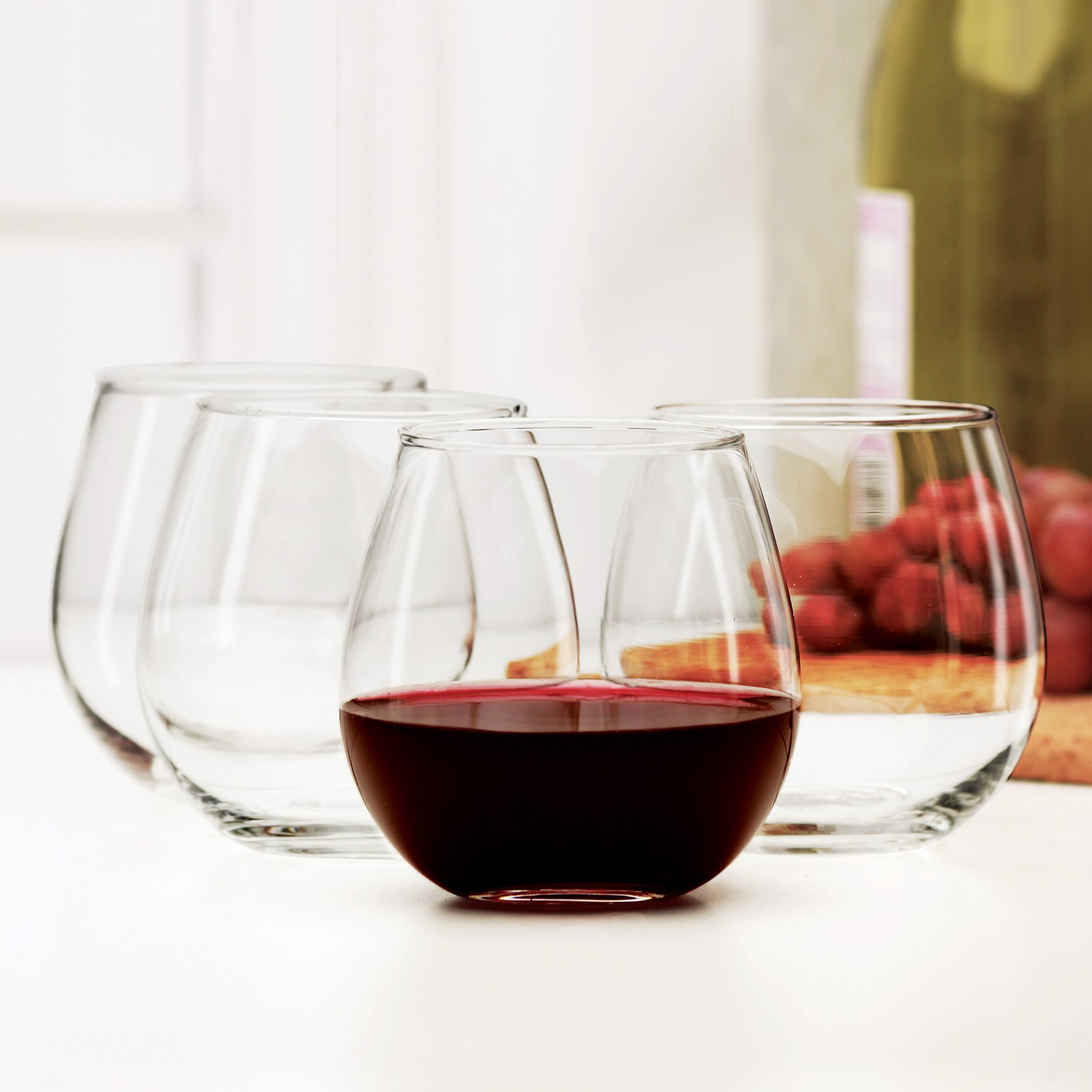 circle glass sommelier stemless red wine glass reviews wayfair. Black Bedroom Furniture Sets. Home Design Ideas