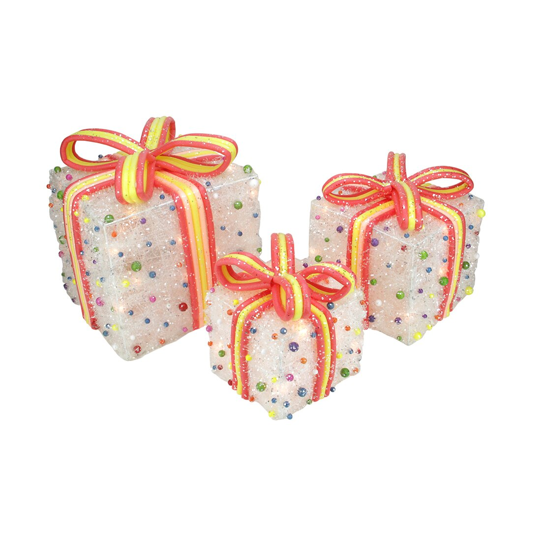Northlight 3 Piece Tinsel Candy Bows Lighted Christmas