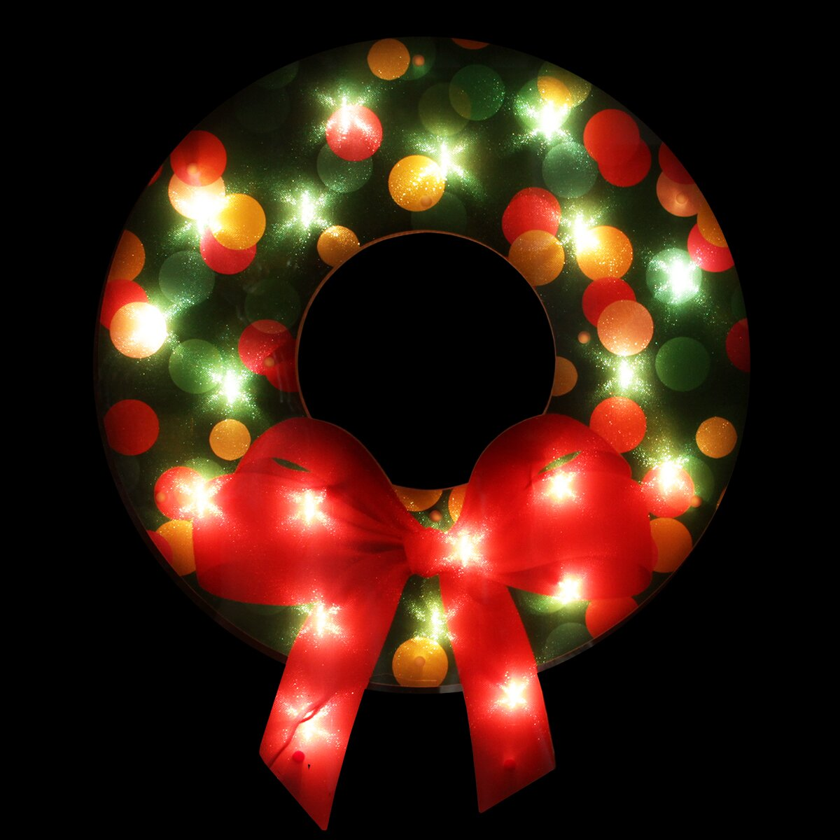 Northlight lighted shimmering christmas wreath with bow for 30 lighted nativity christmas window silhouette decoration