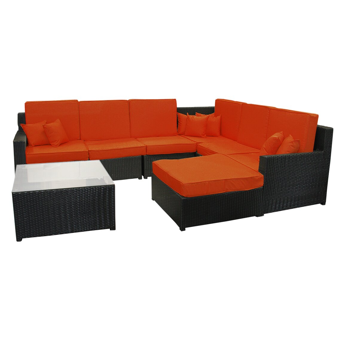 Northlight 8 Piece Resin Wicker Outdoor Furniture Sectional Sofa Table and Ot