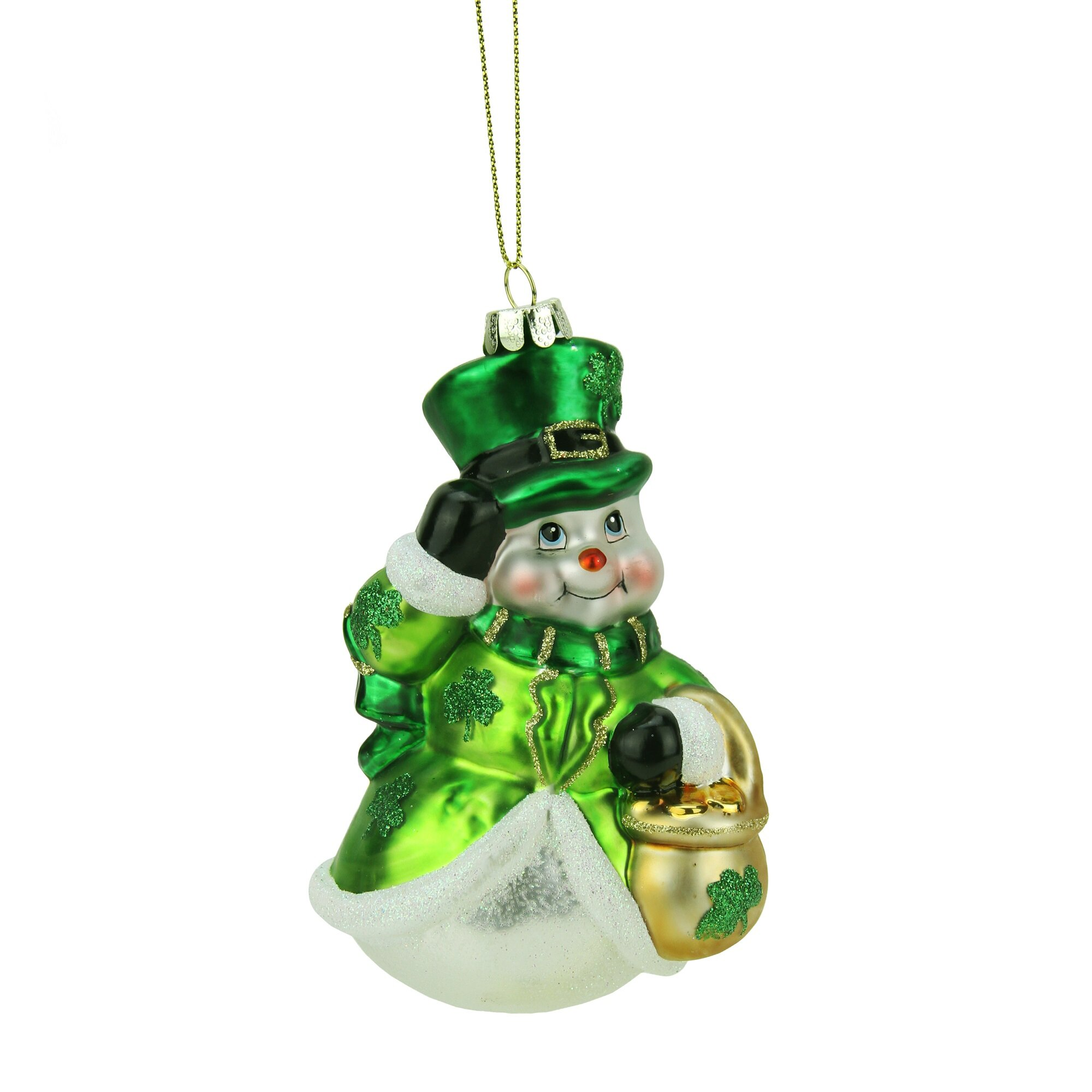 Northlight luck of the irish glittered snowman glass
