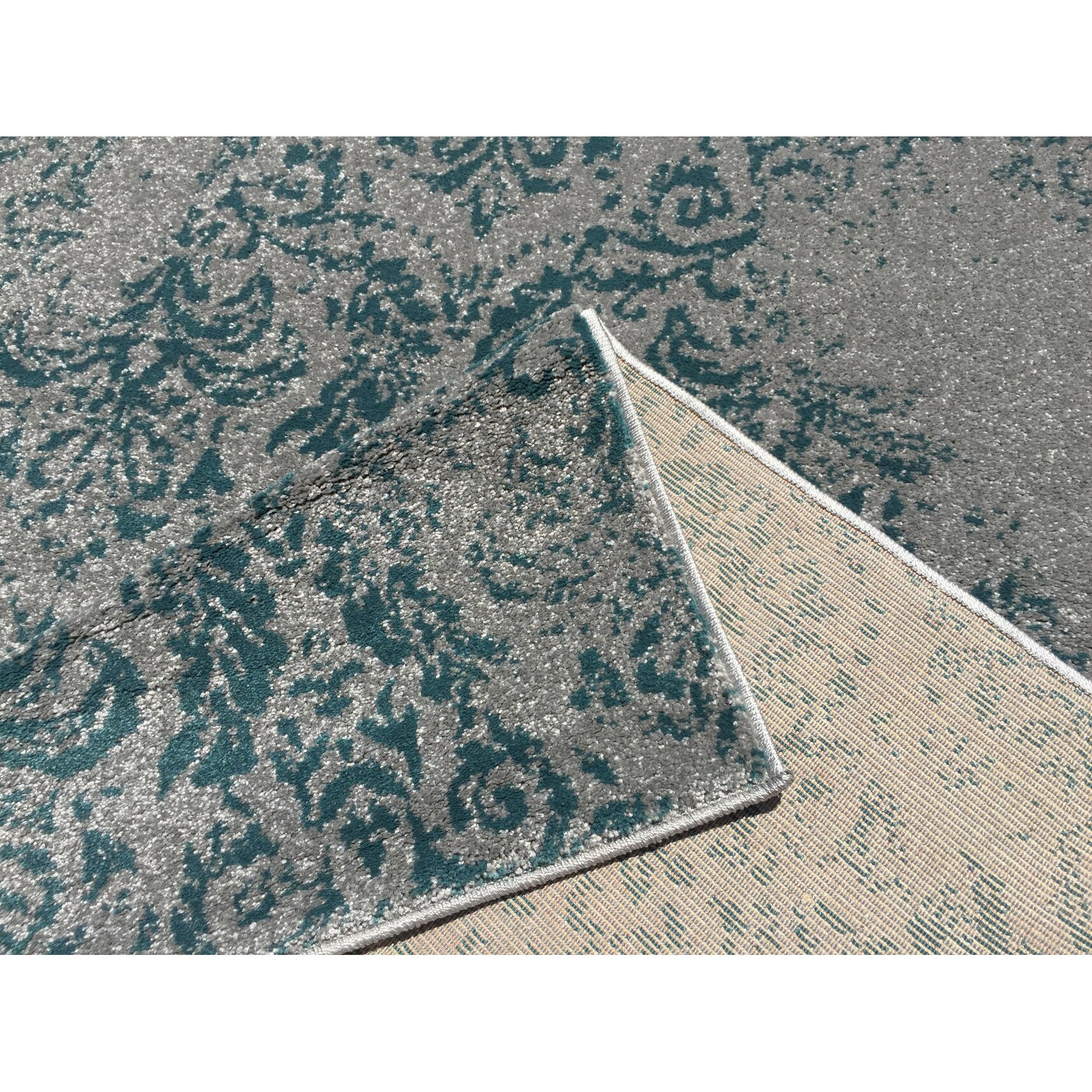 Rugnur Zahra Teal Blue Indoor Outdoor Area Rug