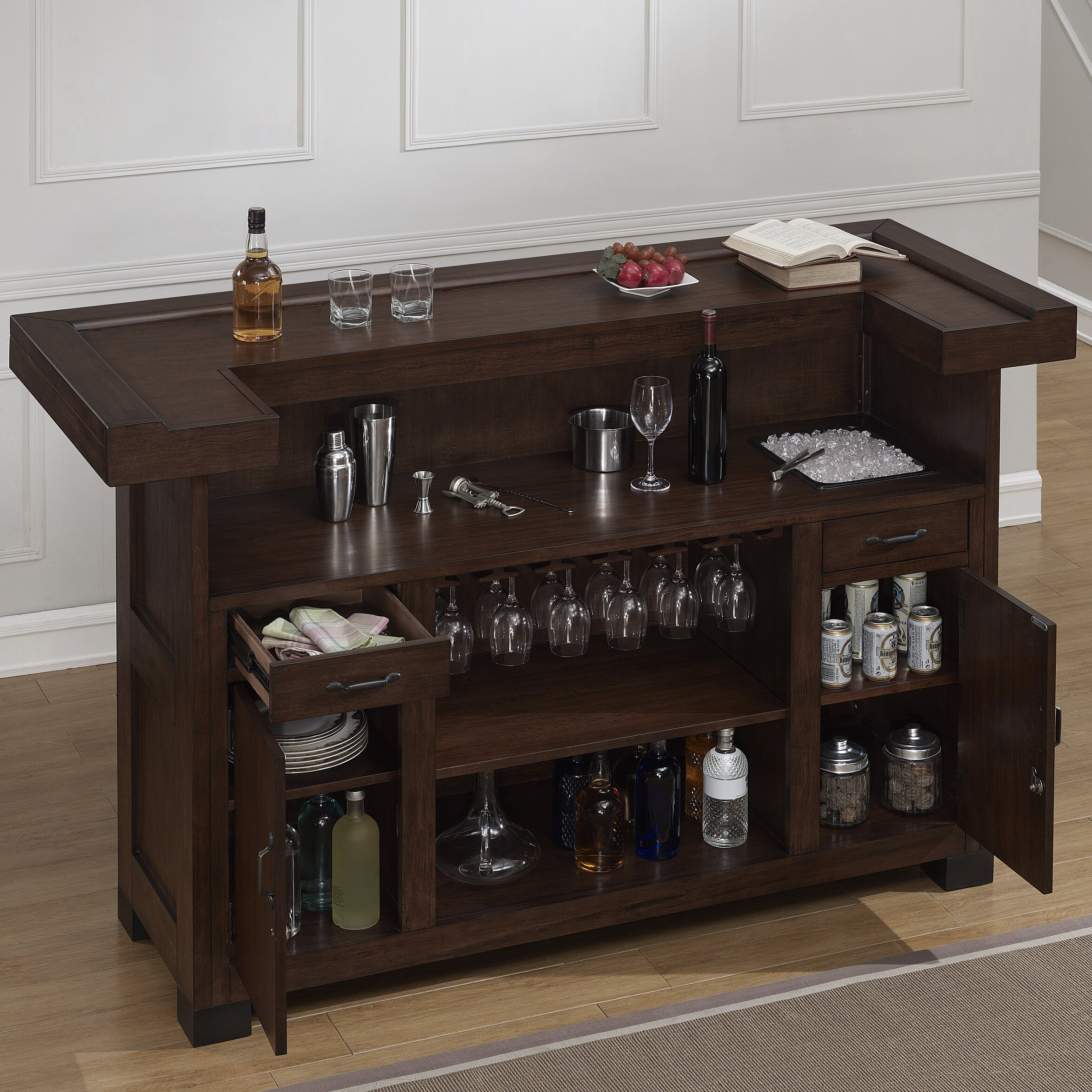 kitchen bars with storage darby home co gasper bar with wine storage amp reviews wayfair 5100