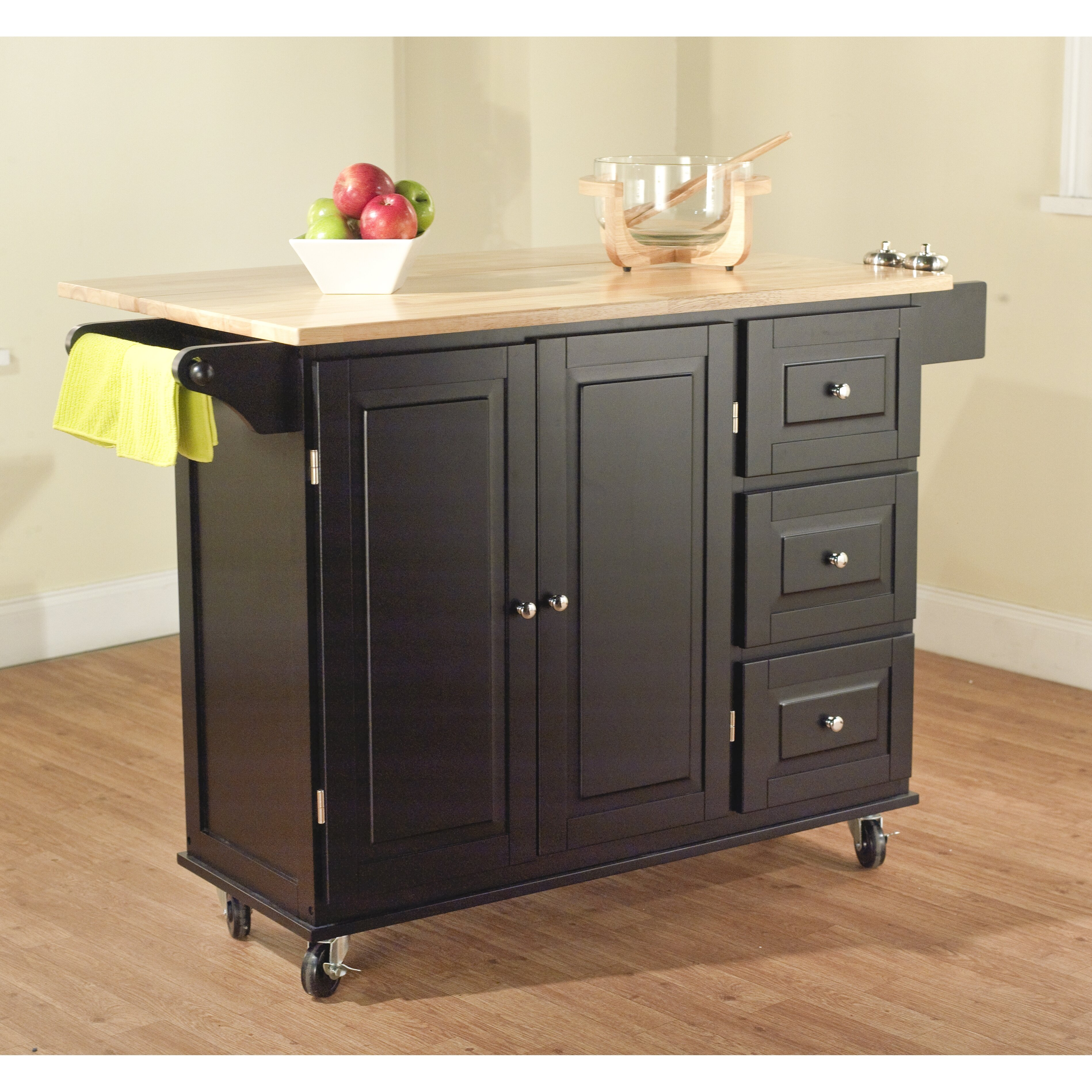 Kitchen Islands With Storage: Darby Home Co Arpdale Kitchen Island With Wood Top