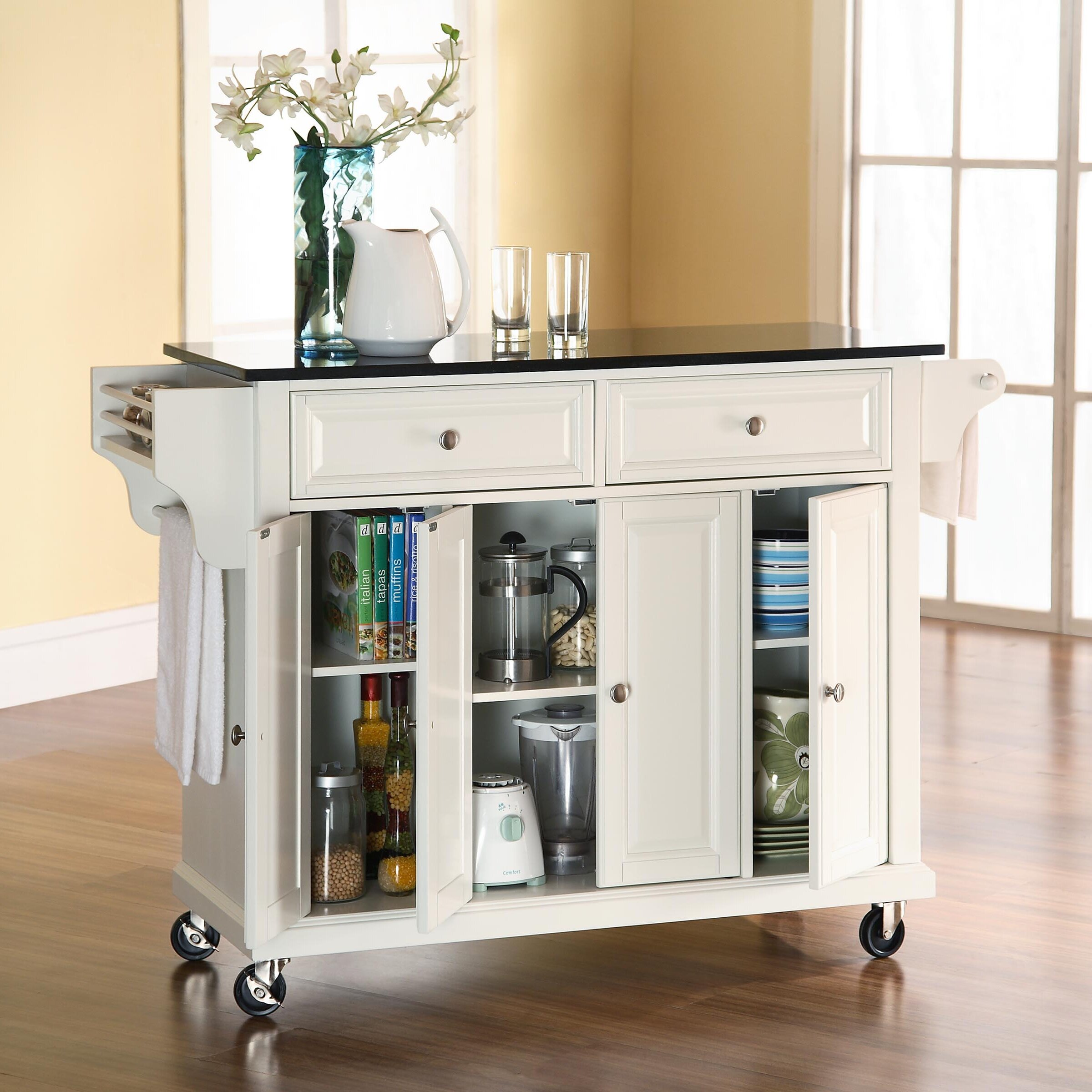 Darby home co pottstown kitchen island with granite top for Kitchen units on wheels