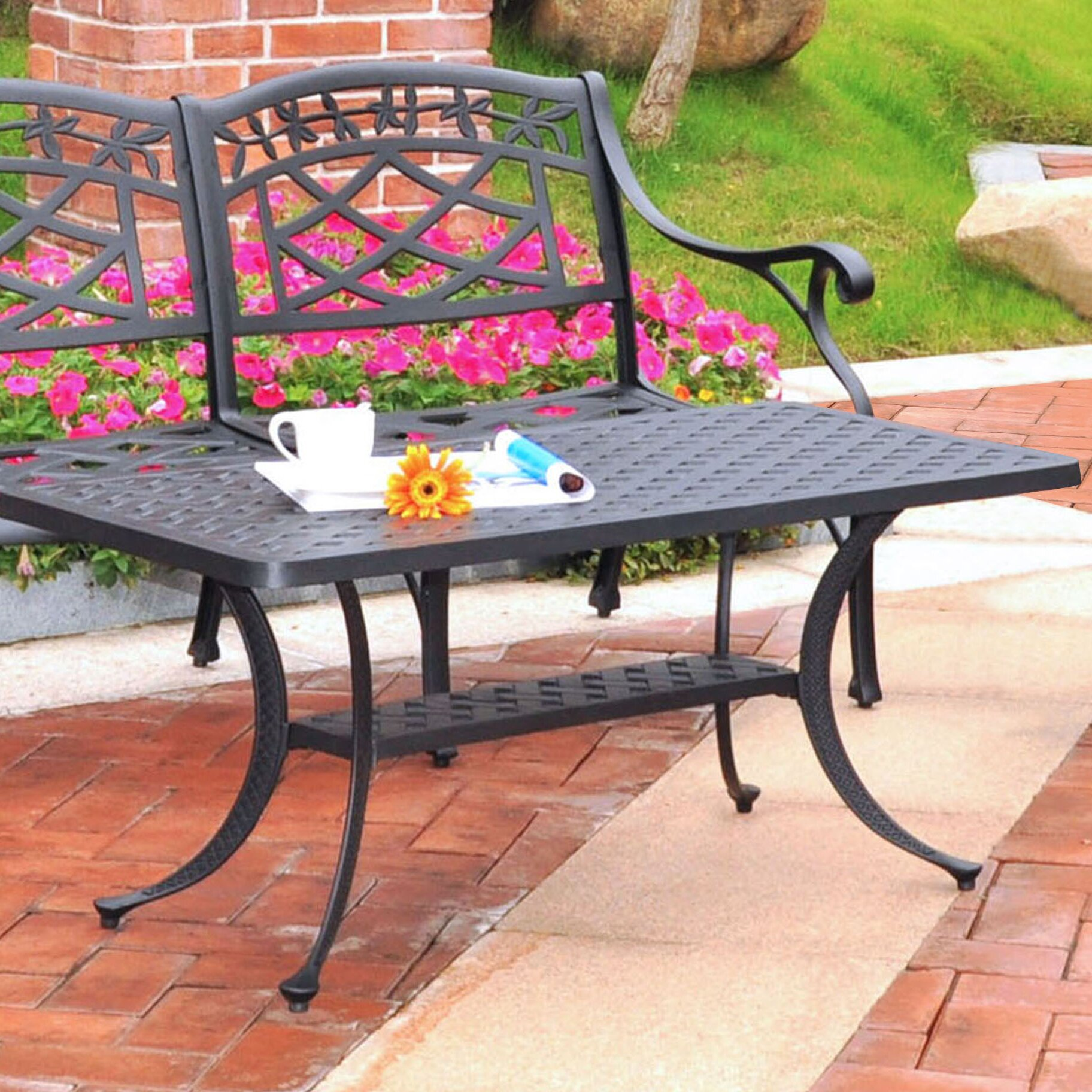 Darby Home Co Lomax Cast Aluminum Rectangular Coffee Table