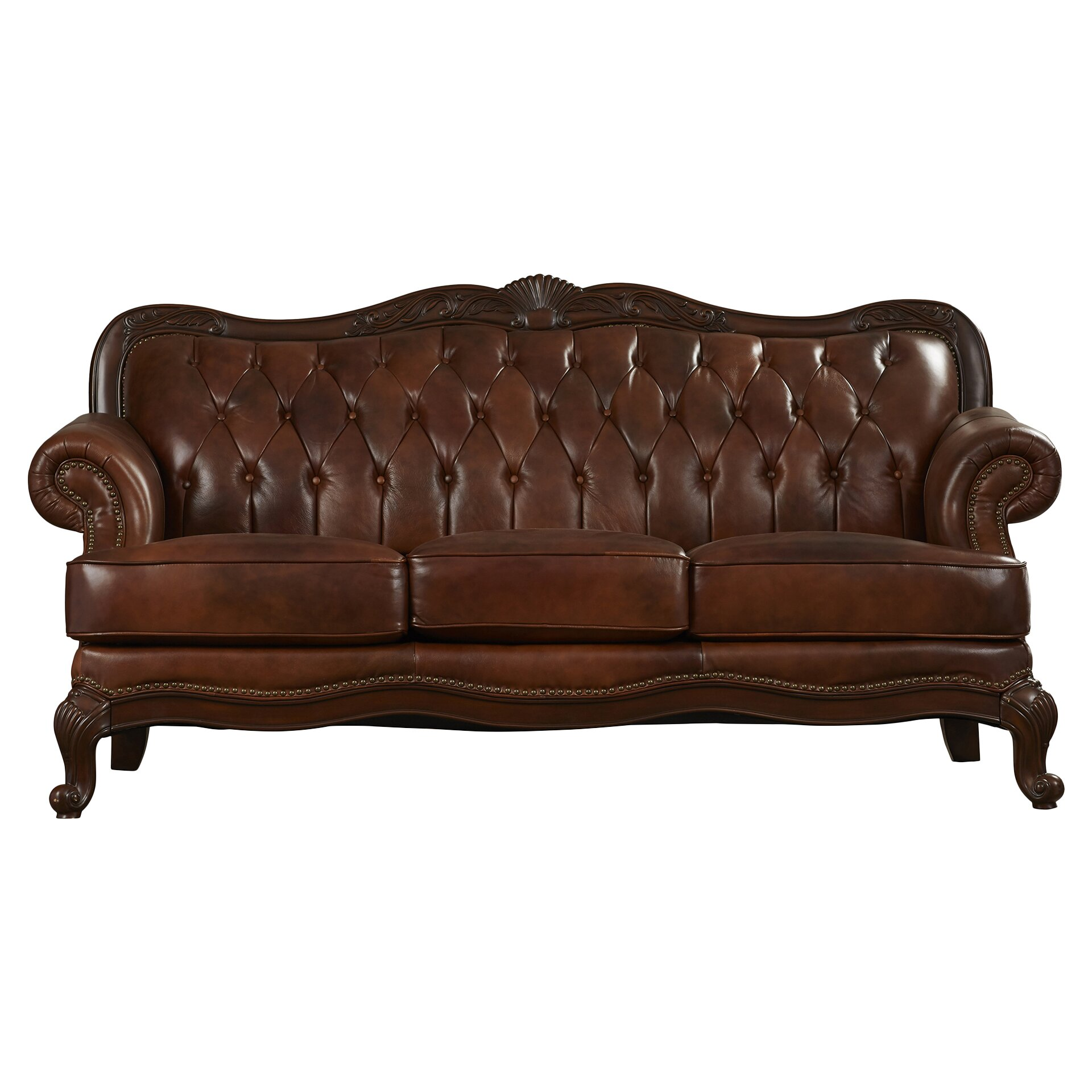 Darby Home Co Cambridge Leather Sofa Reviews Wayfair