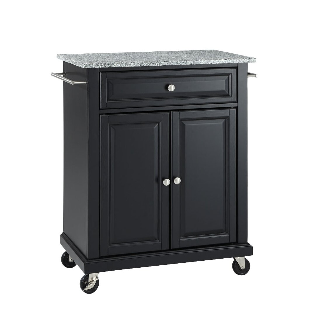 Darby Home Co Detweiler Solid Granite Top Portable Kitchen Cart Island Reviews