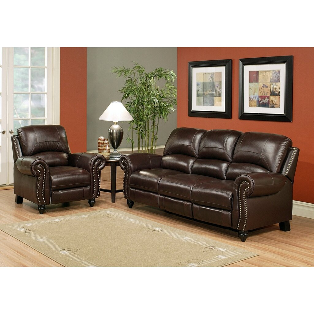 Darby home co kahle leather reclining sofa and chair set for Reclining sofa sets