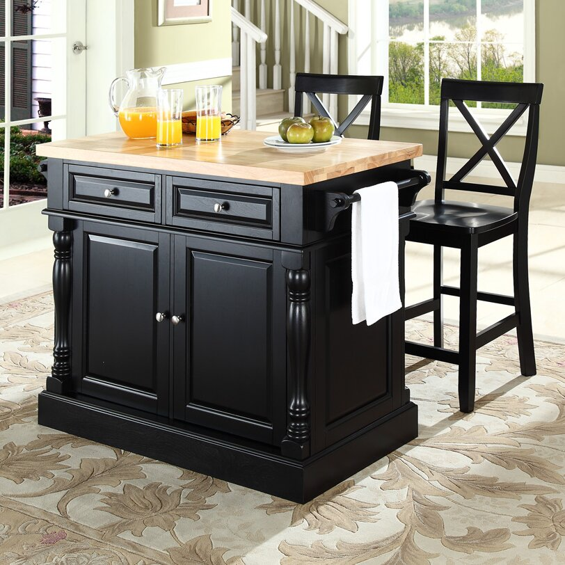 Darby Home Co Lewistown 3 Piece Kitchen Island Set With