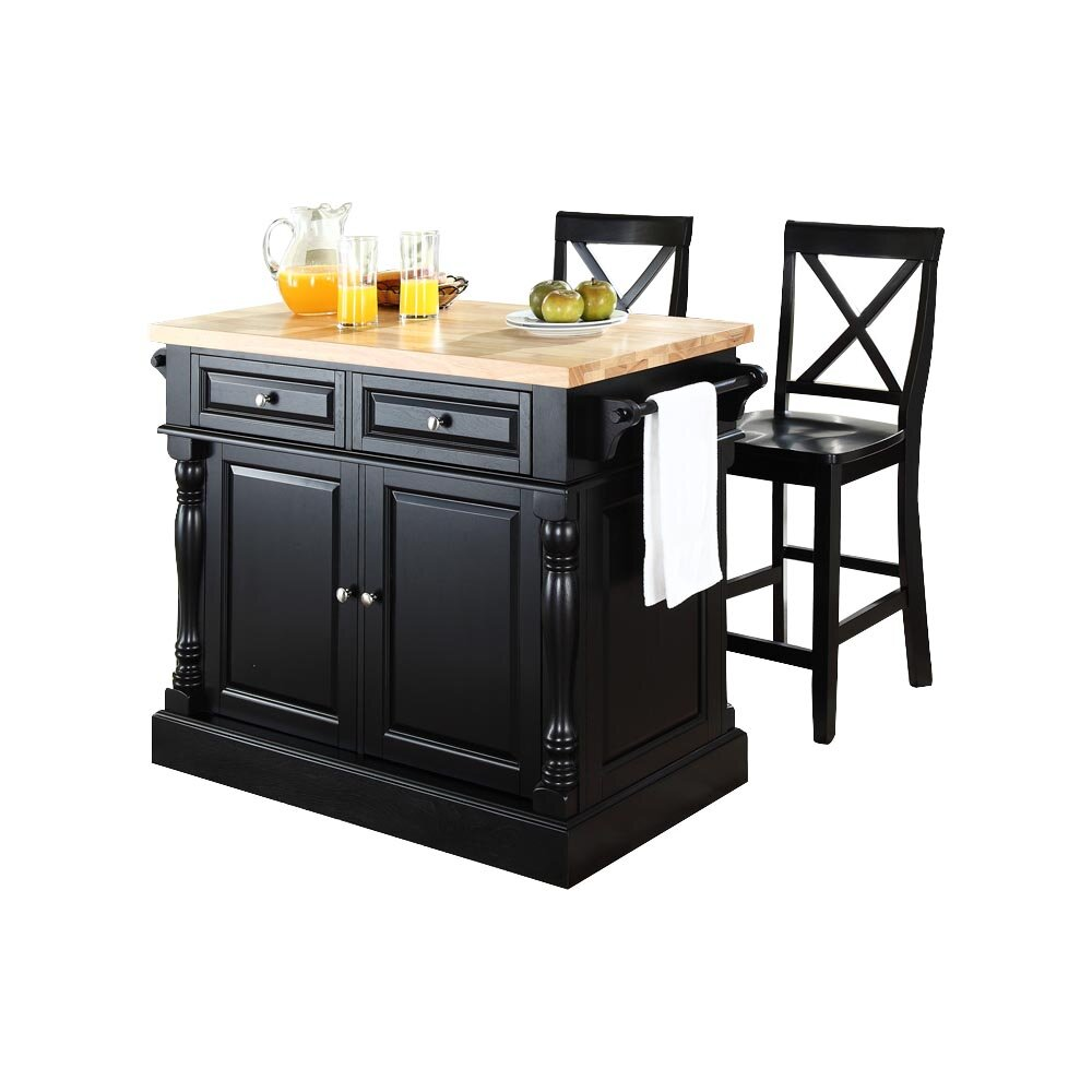 Darby Home Co Lewistown 3 Piece Kitchen Island Set with Butcher Block Top &am