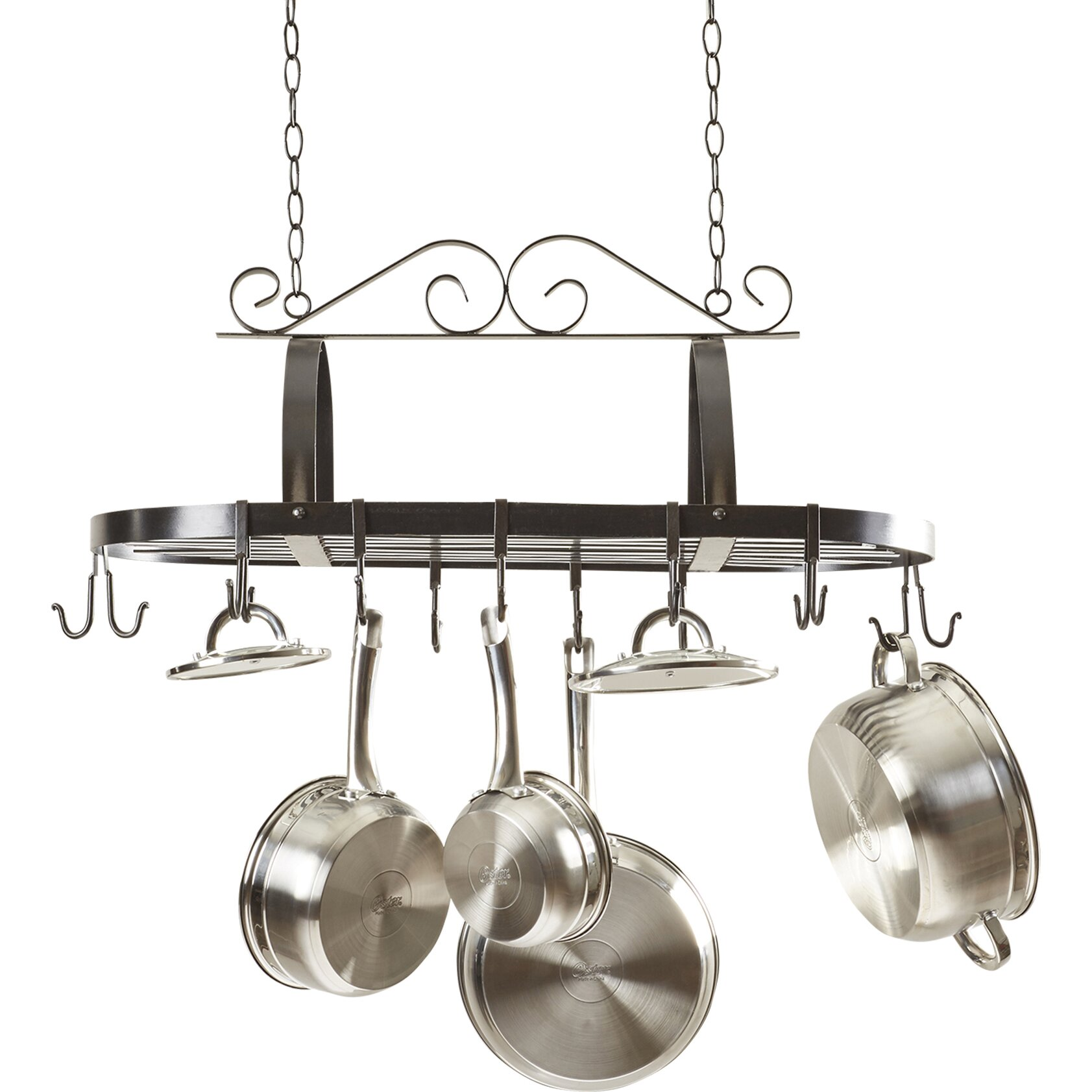 Darby home co kitchen hanging pot rack reviews wayfair for Pot racks for kitchen