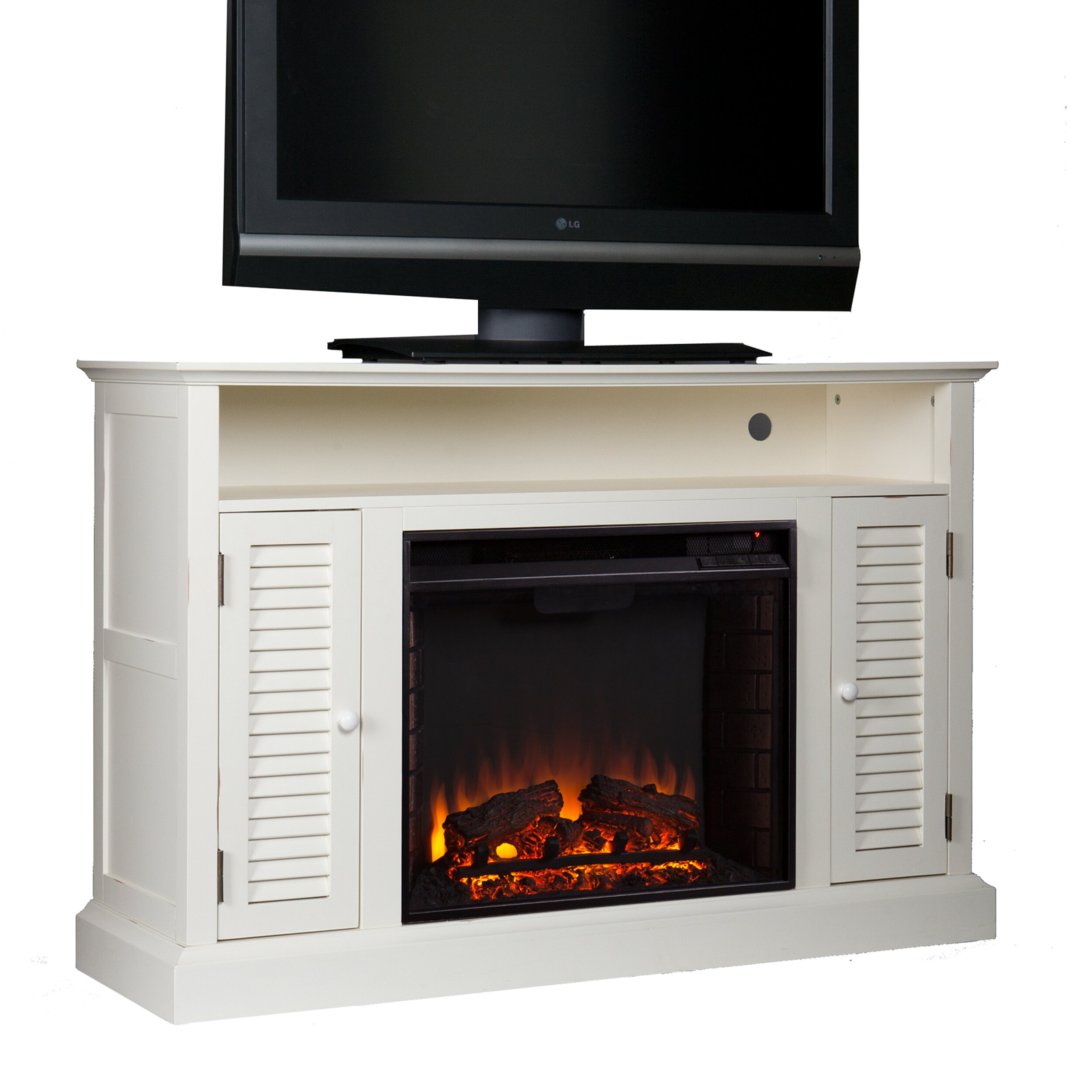 darby home co ginsberg tv stand with electric fireplace reviews wayfair. Black Bedroom Furniture Sets. Home Design Ideas