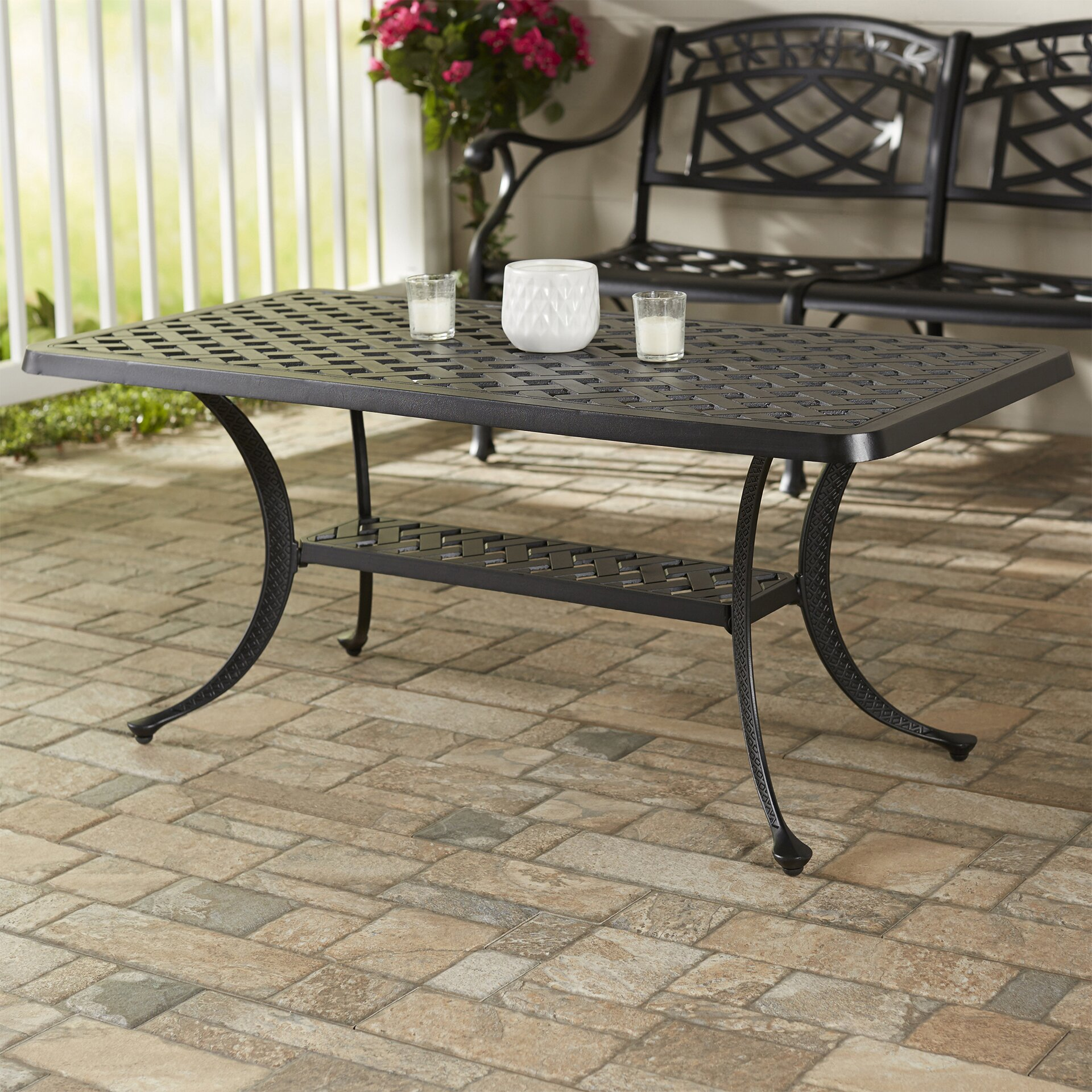 Outdoor Coffee Table: Darby Home Co Lomax Cast Aluminum Rectangular Coffee Table