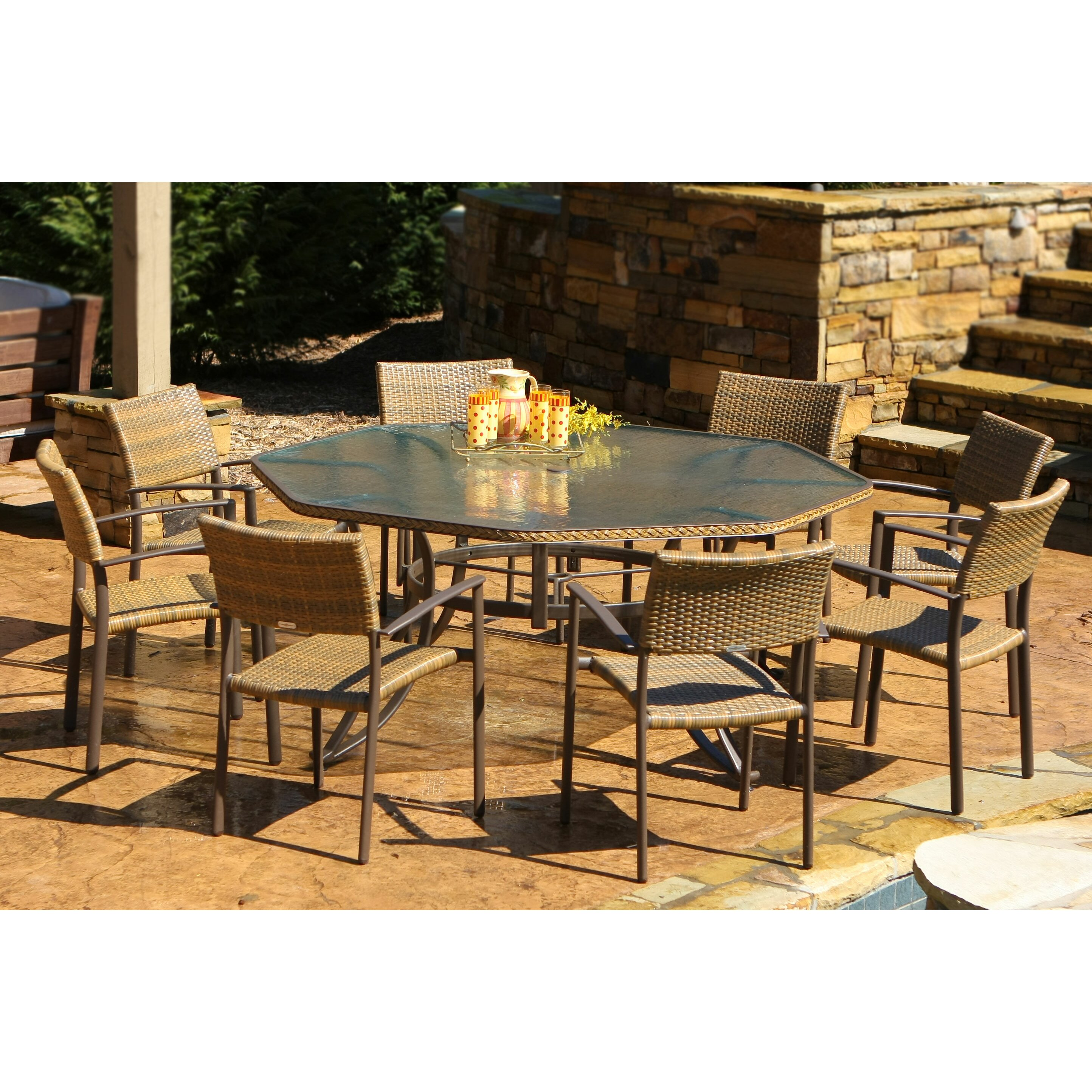 Eight Person Patio Dining Sets Darby Home Co SKU: DRBC1529. Full resolution  portrait, nominally Width 2888 Height 2888 pixels, portrait with #B48B17.