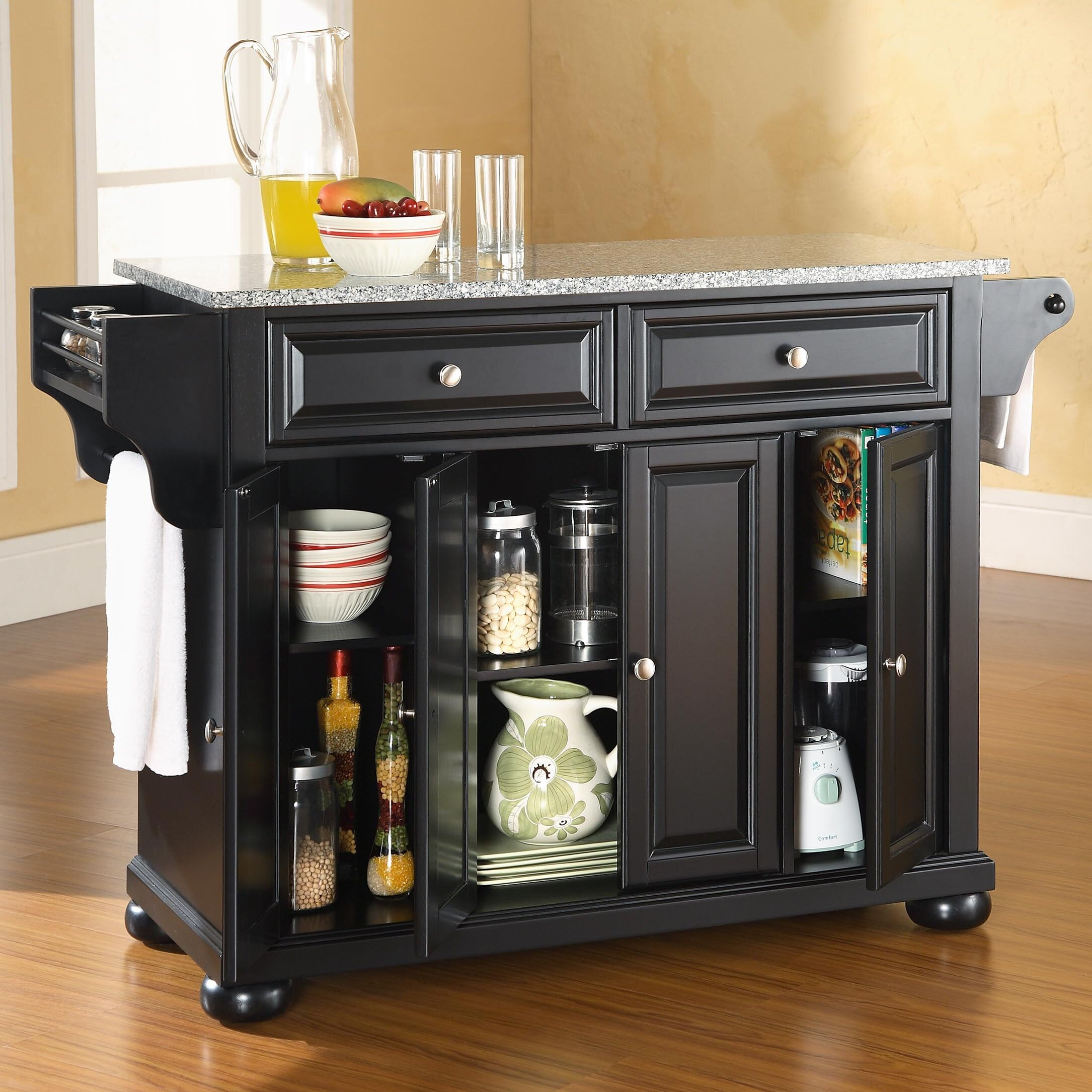 Darby Home Co Pottstown Kitchen Island With Granite Top Reviews Wayfair