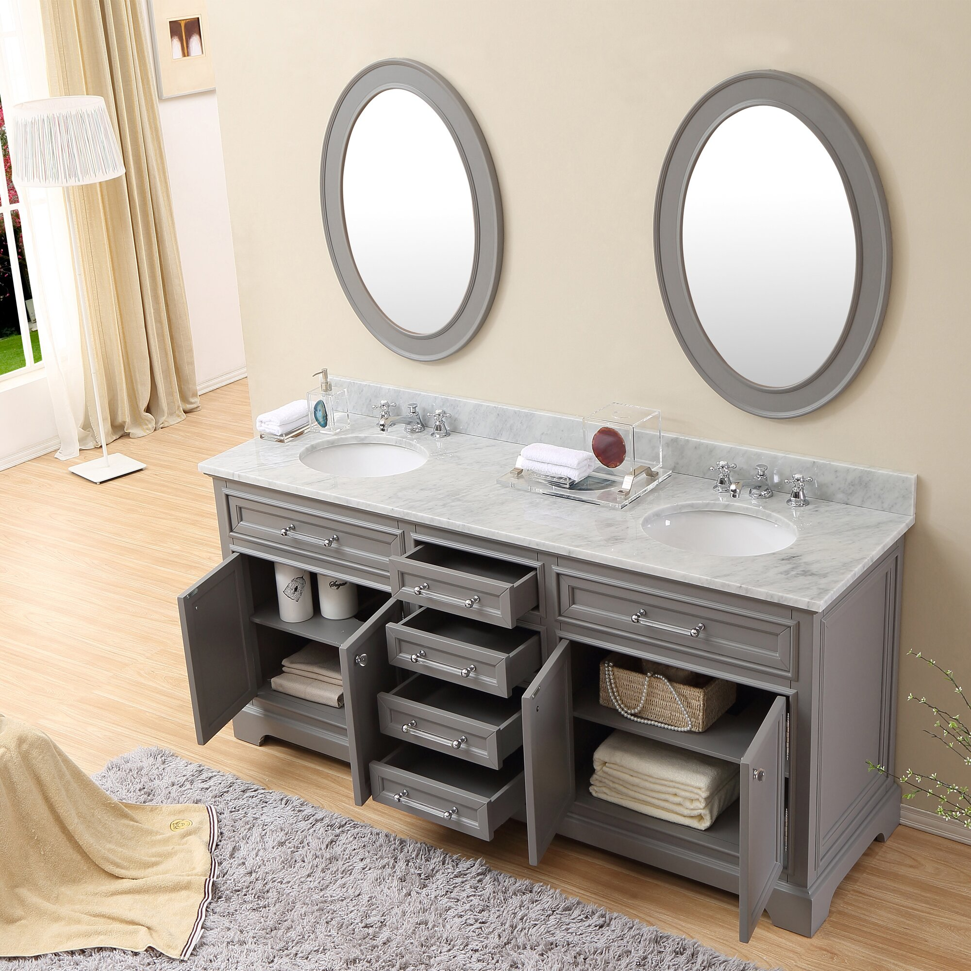 Darby home co colchester 72 double sink bathroom vanity set grey reviews wayfair Bathroom sink and vanity sets
