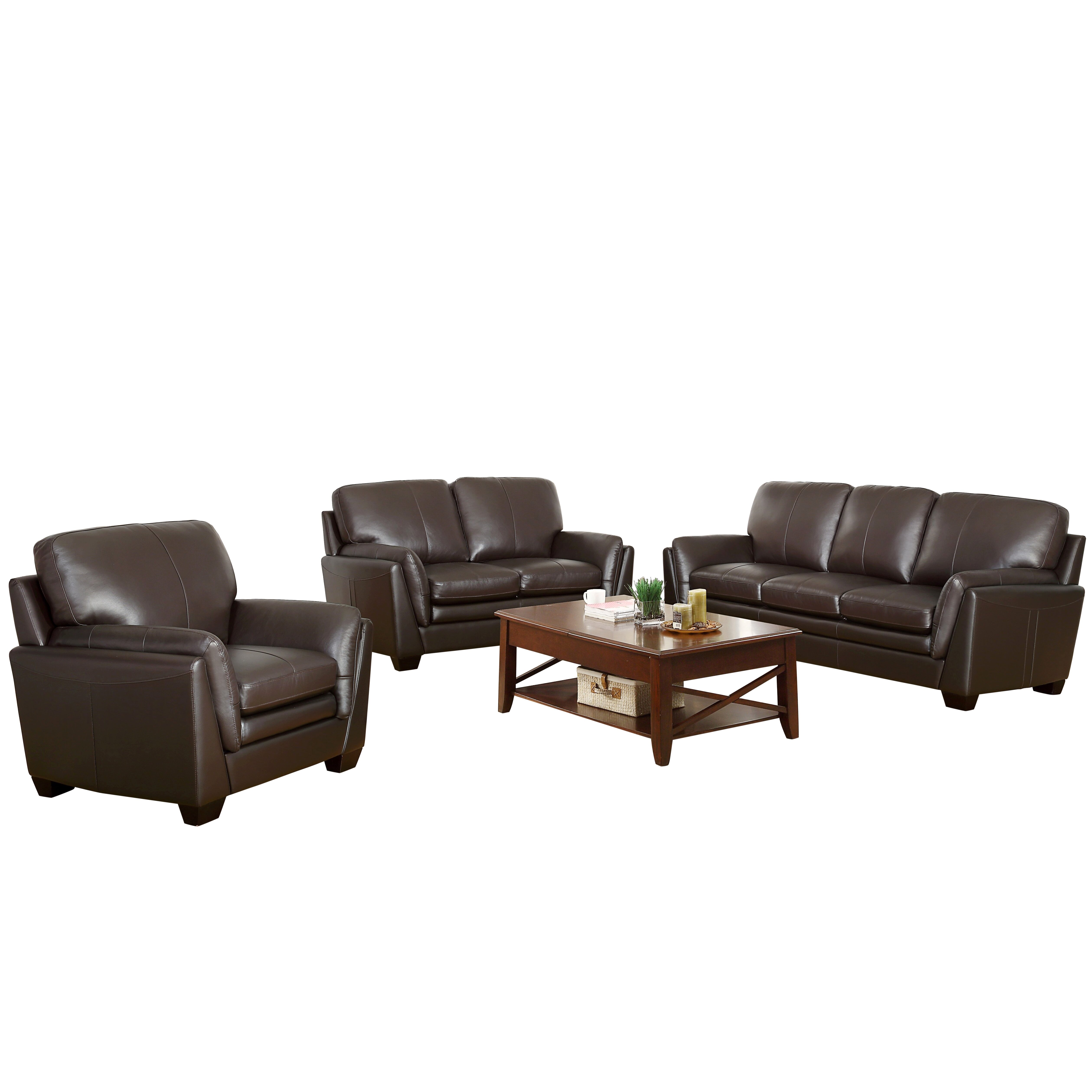 Darby home co whitstran top grain leather sofa and for World best sofa set