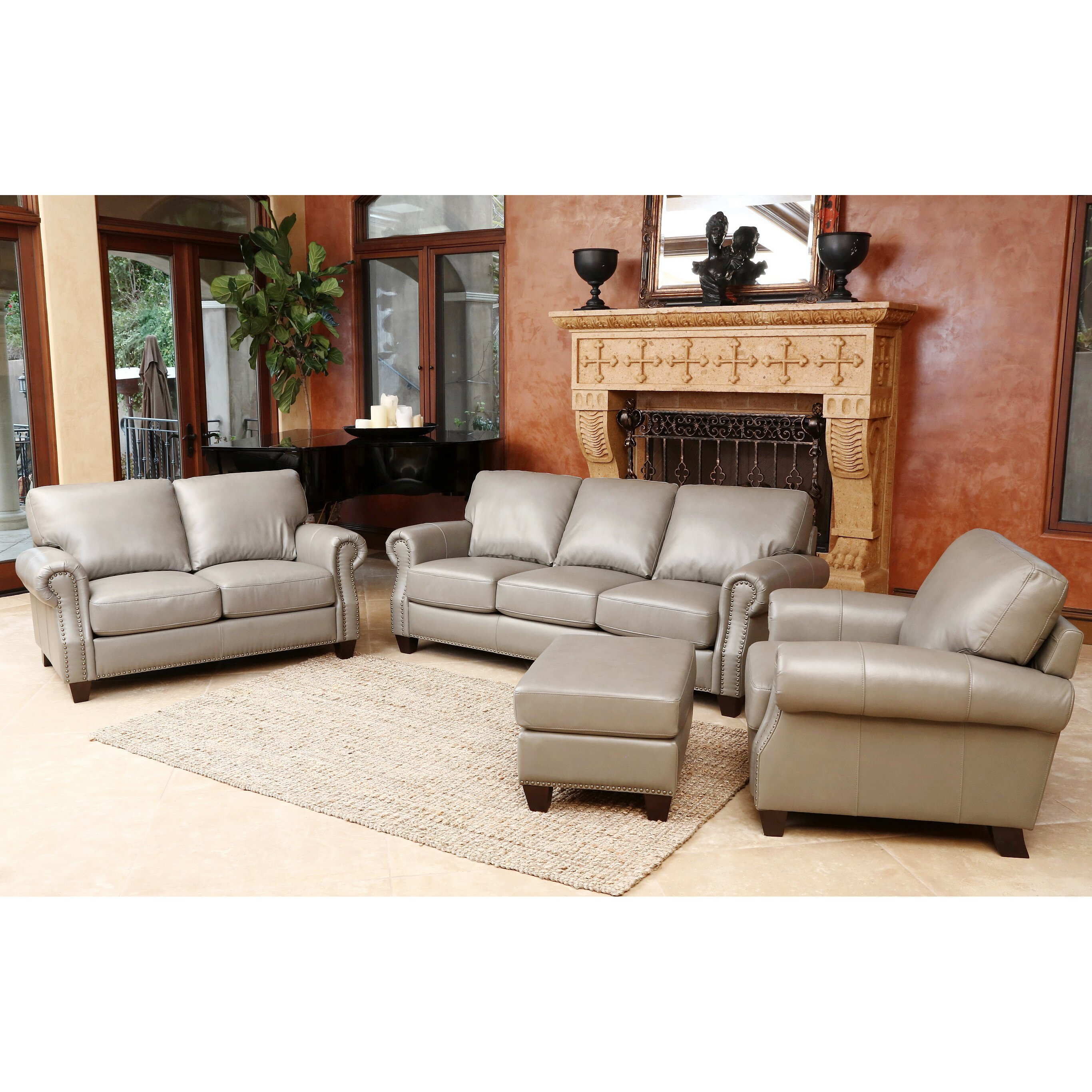 Darby home co cairnbrook 3 piece leather living room set for 3 piece living room set
