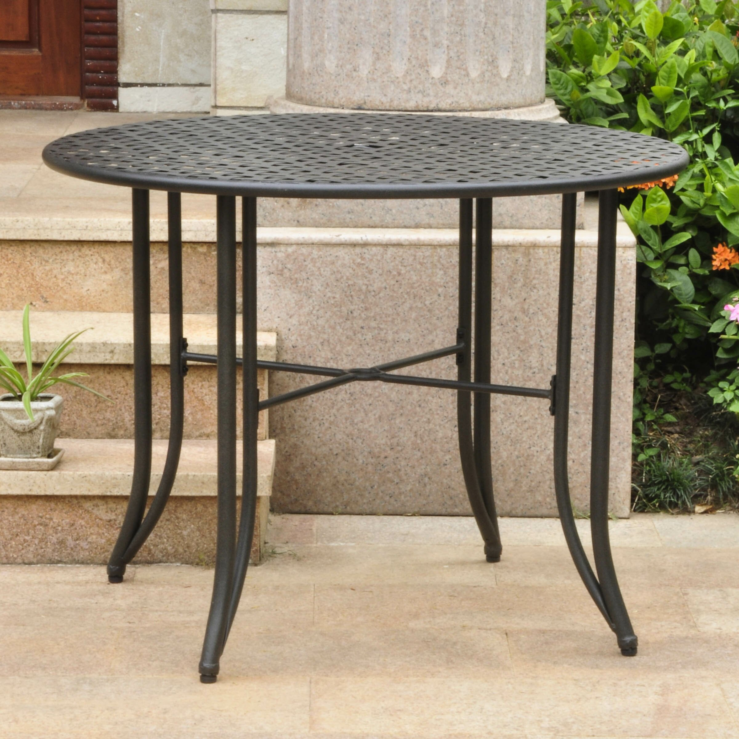 darby home co doric iron 39 round patio dining table reviews wayfair. Black Bedroom Furniture Sets. Home Design Ideas
