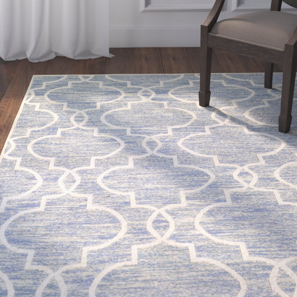 Darby home co willisville light blue white area rug wayfair for Blue and white area rugs
