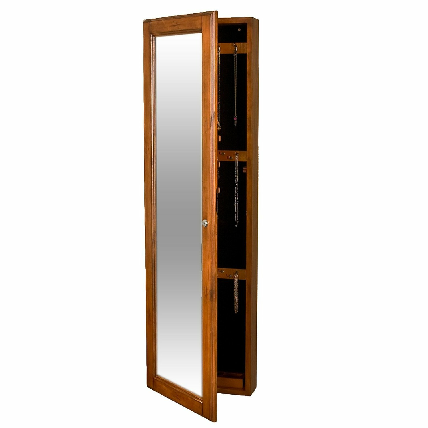 Alcott hill chauncey wall mounted jewelry armoire with for Wall mounted mirror