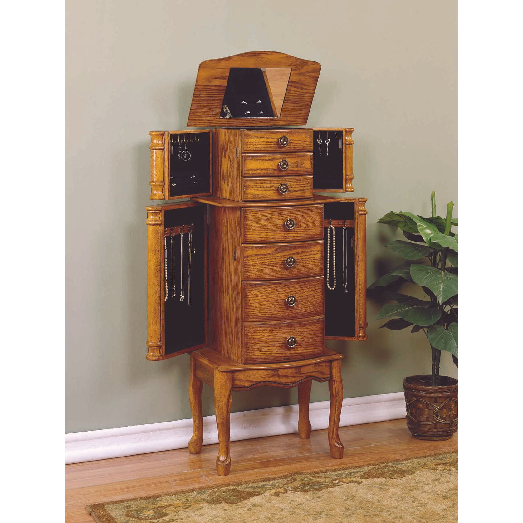 All Wood Jewelry Armoire ~ Alcott hill barwood jewelry armoire with mirror reviews