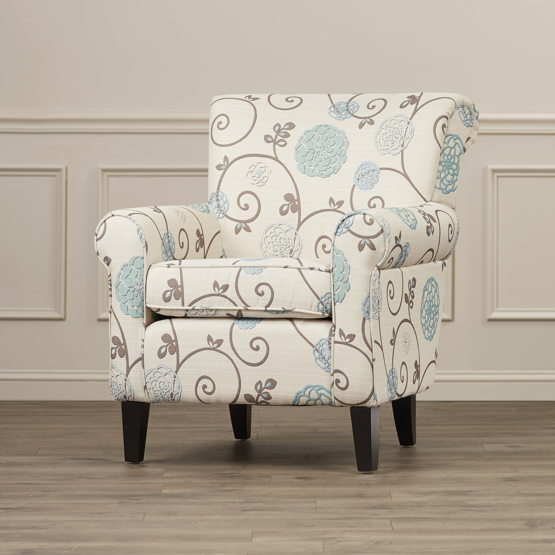 Alcott Hill Wadham Flowered Upholstered Club Chair