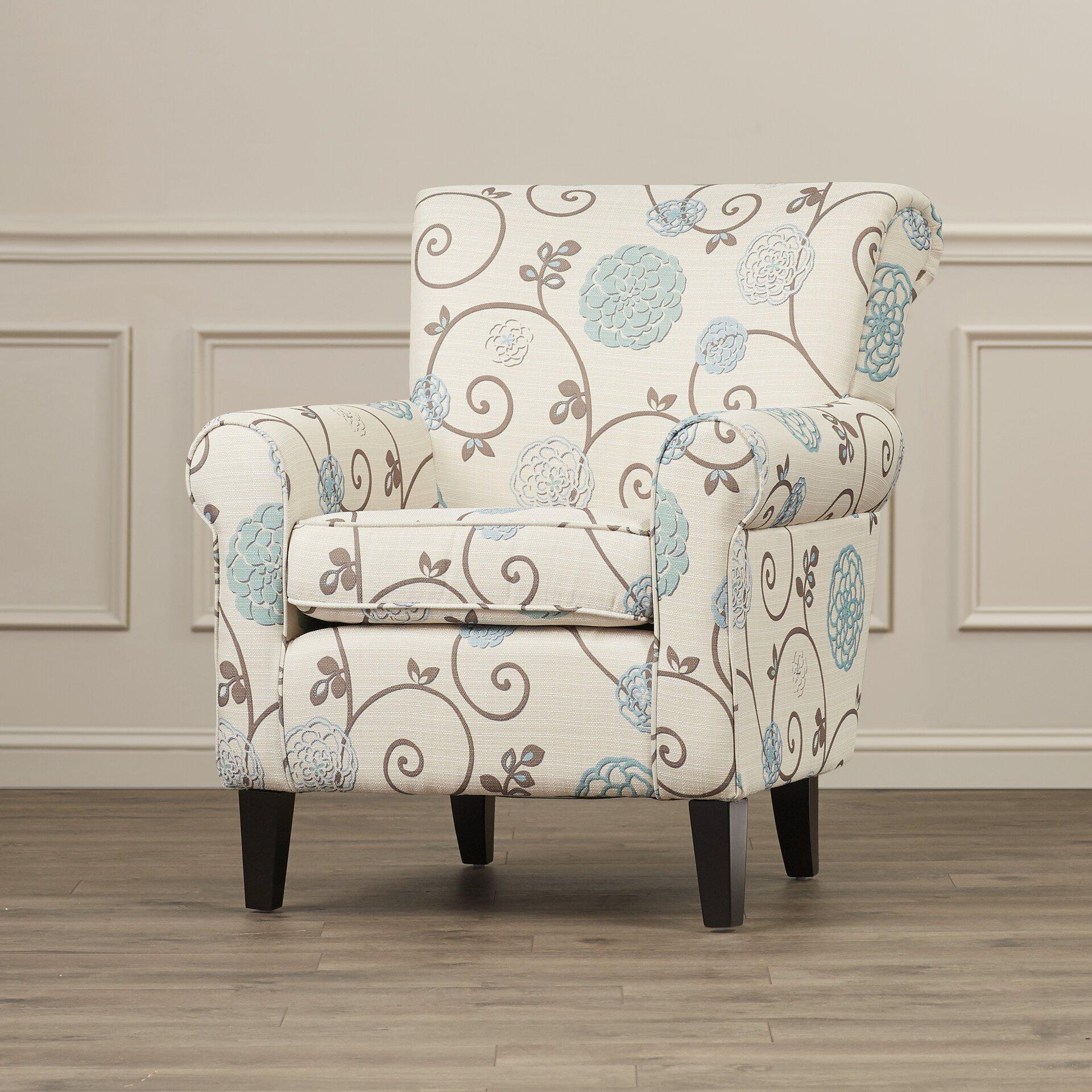 Alcott Hill Wadham Flowered Upholstered Club Chair