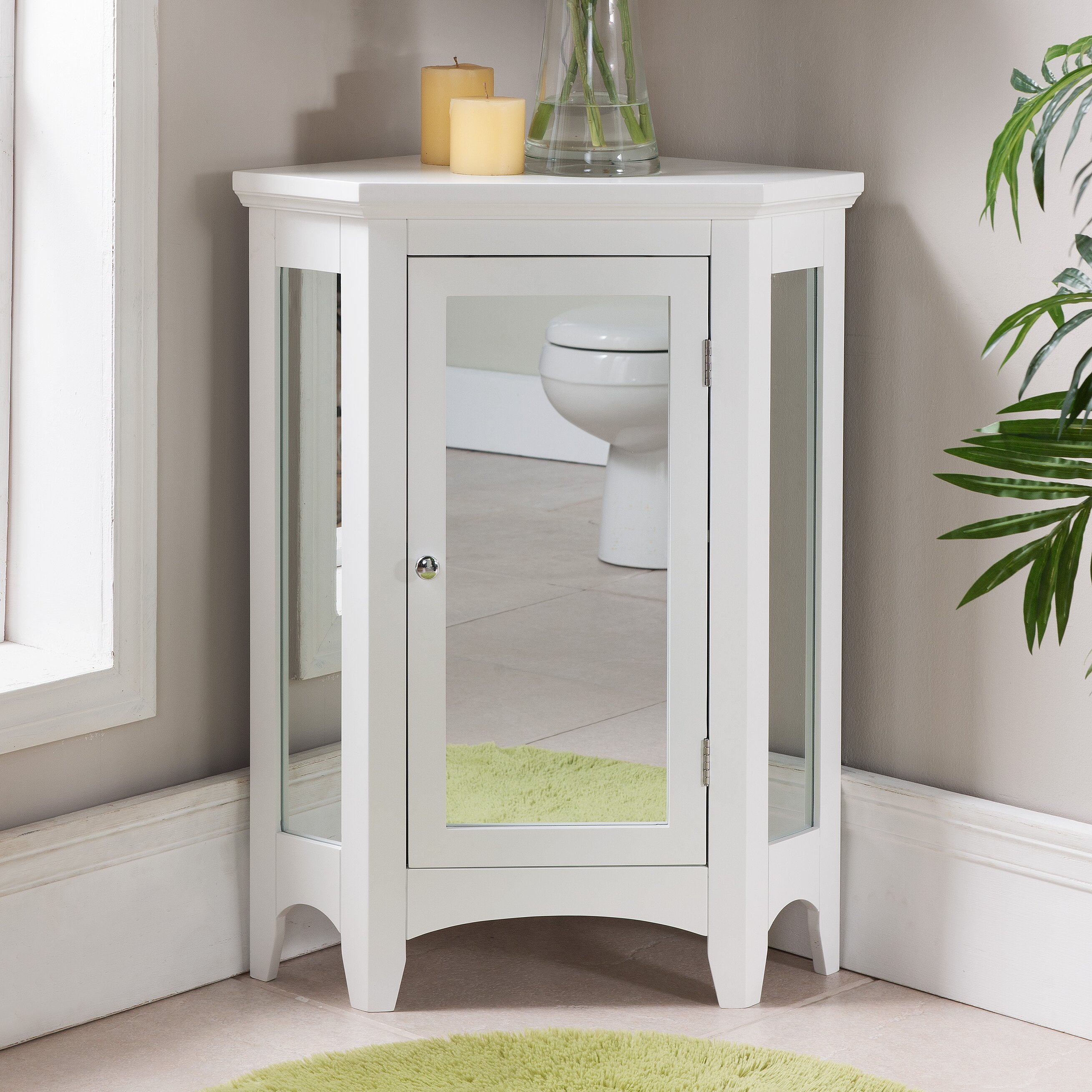 x 32 mirrored corner free standing cabinet review