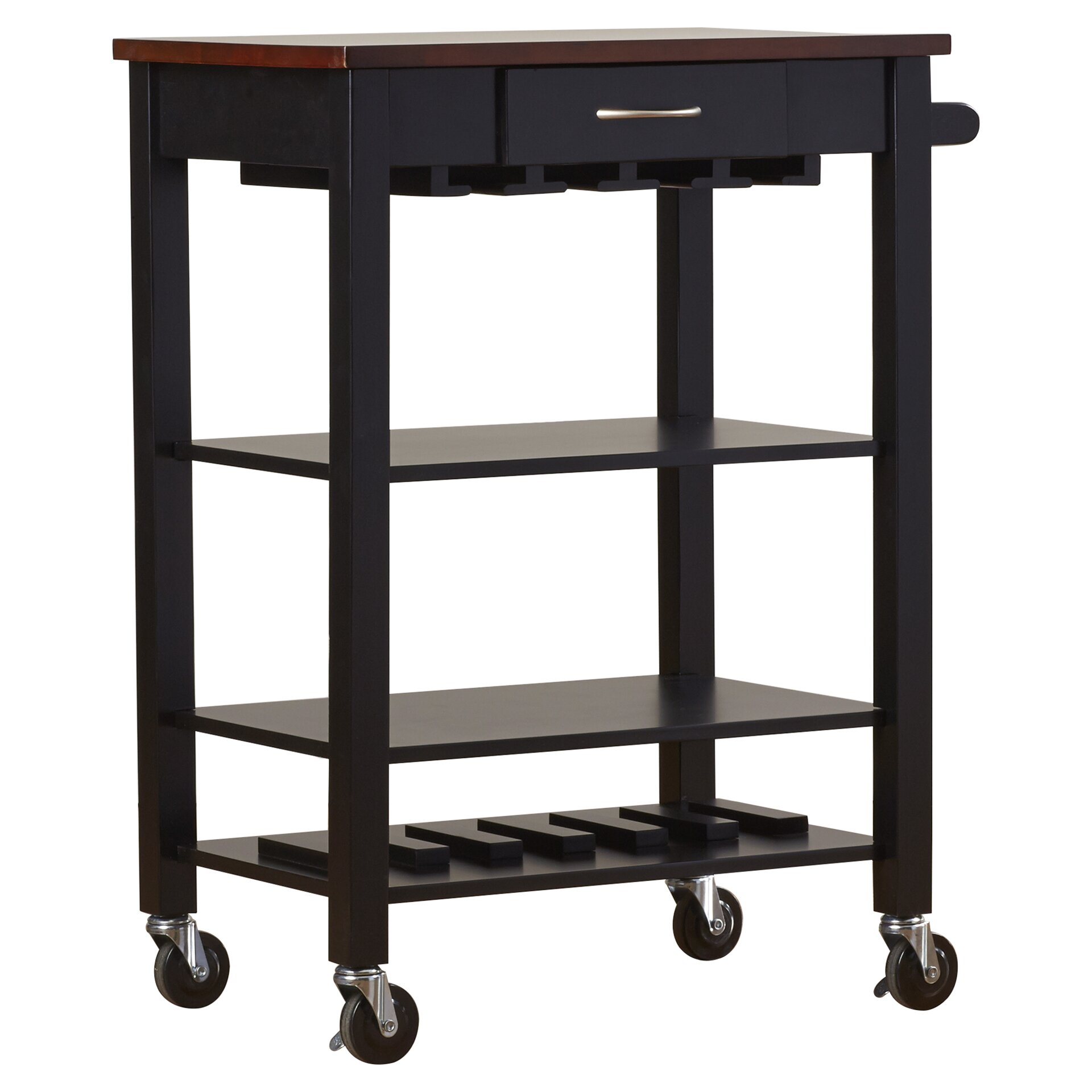 Alcott Hill Morgandale Kitchen Cart With Butcher Block Top
