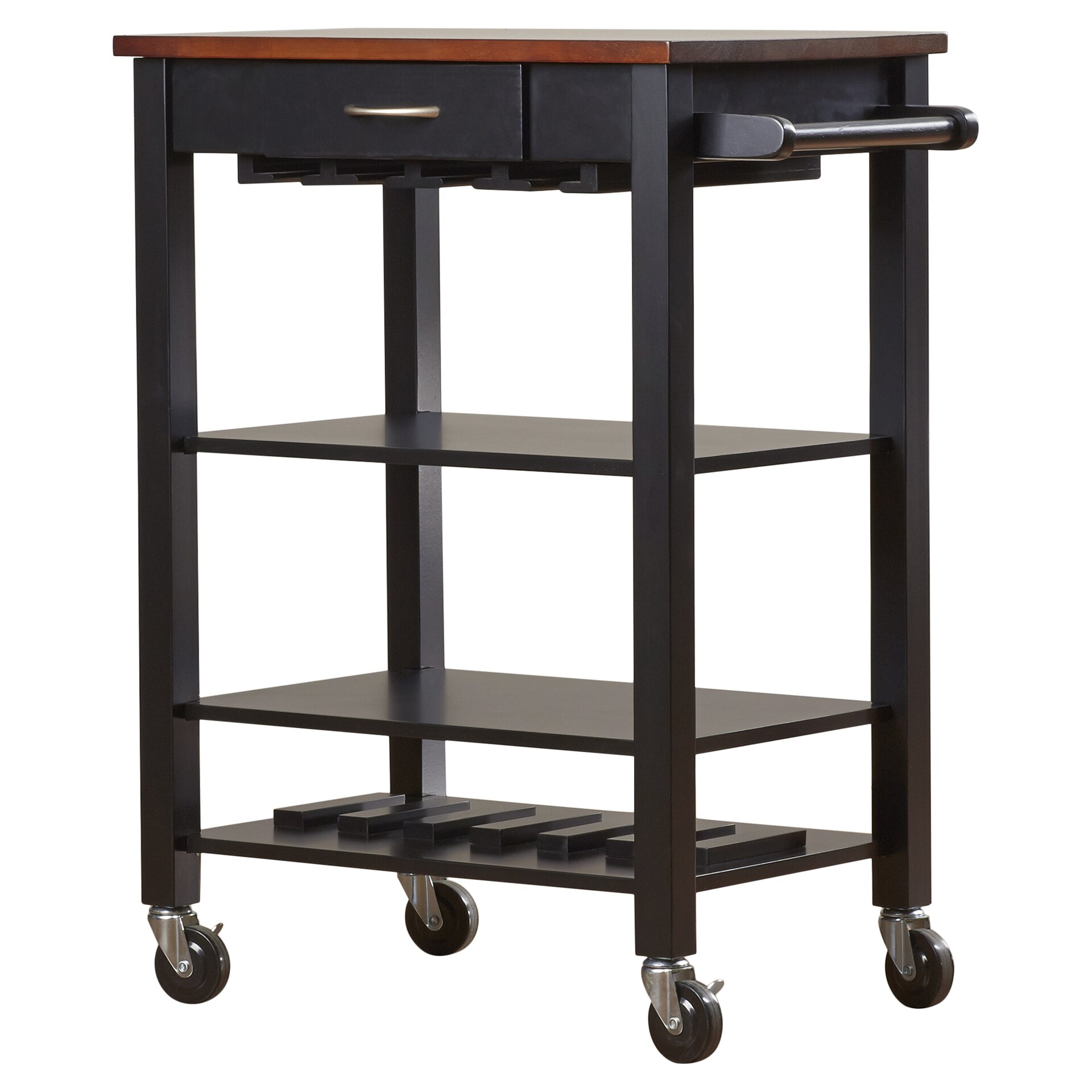 Alcott Hill Morgandale Kitchen Cart With Butcher Block Top Reviews Wayfair