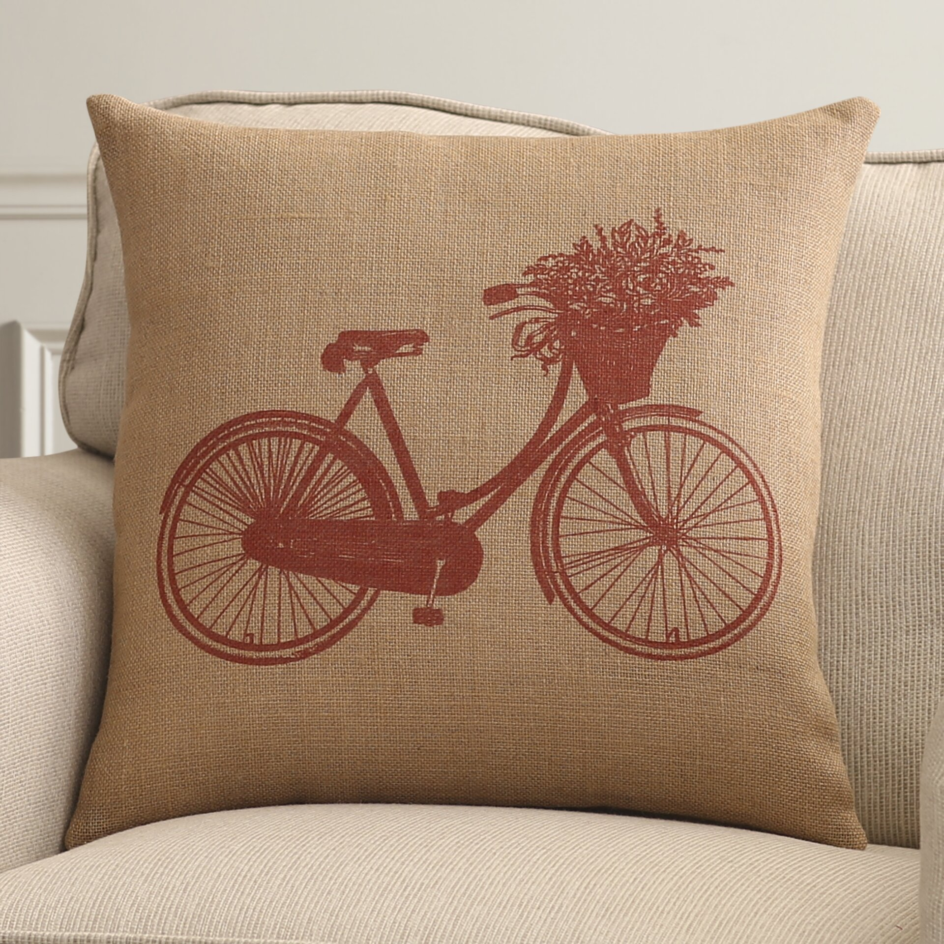 Throw Pillows With Bikes : Alcott Hill Bike Throw Pillow & Reviews Wayfair