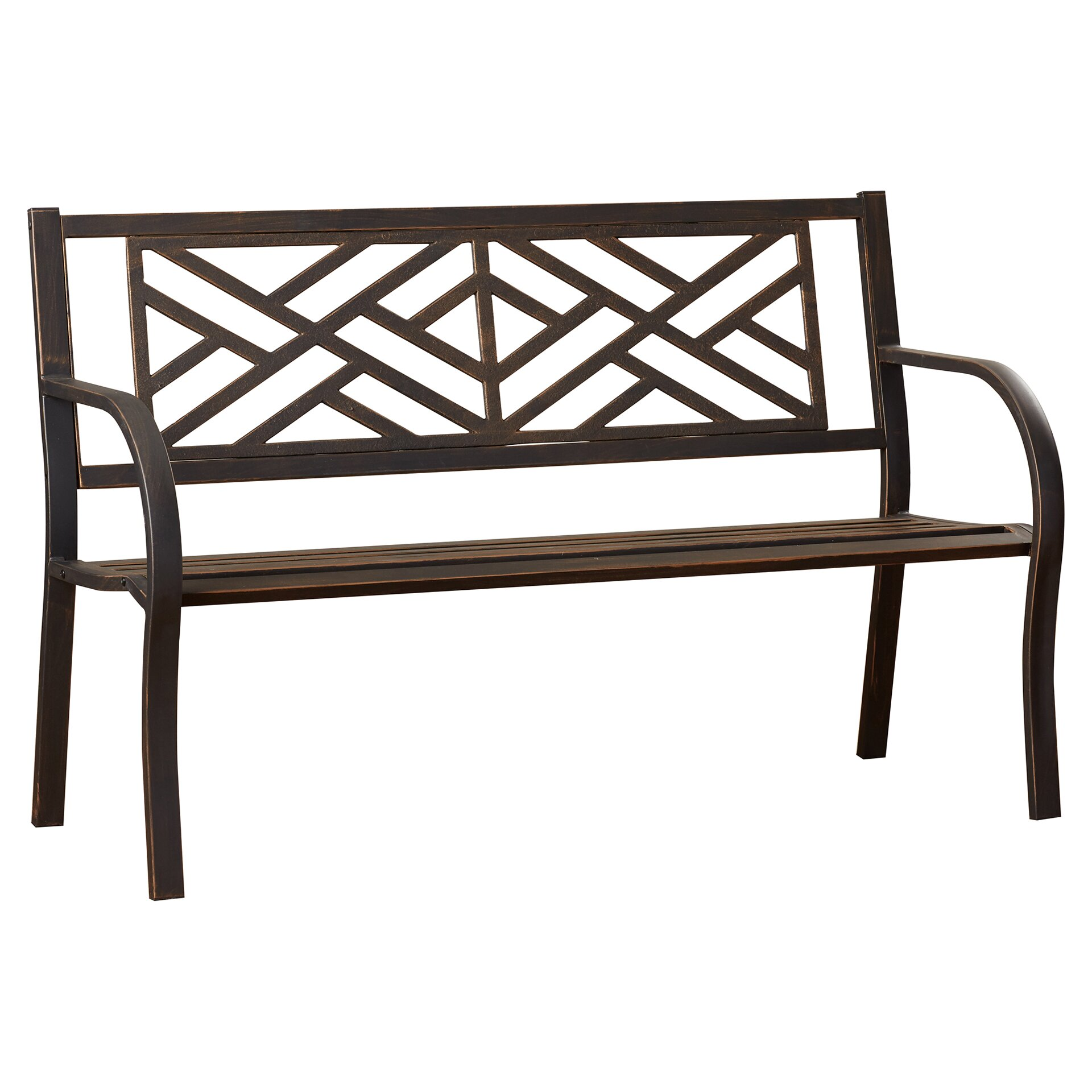 Alcott hill crestshire metal garden bench reviews wayfair Garden benches metal