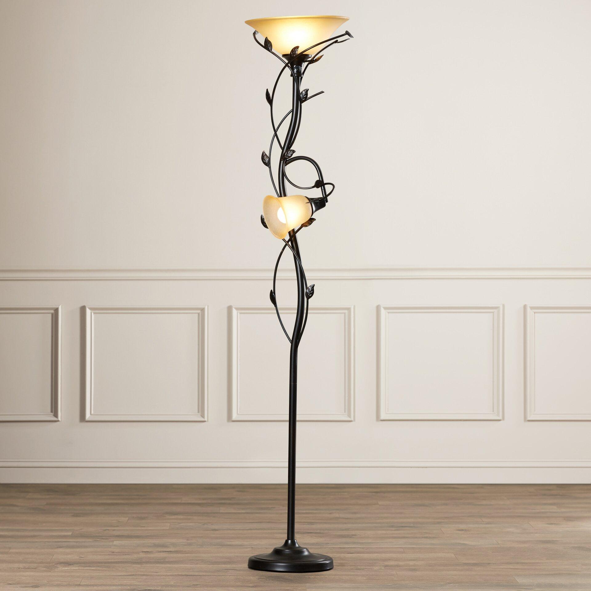 Alcott Hill Crystal 2 Light 72 Torchiere Floor Lamp