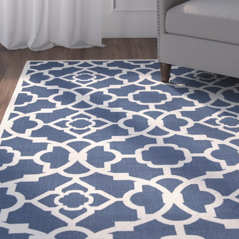 Alcott hill kenton lapis indoor outdoor area rug reviews for Blue and white area rugs