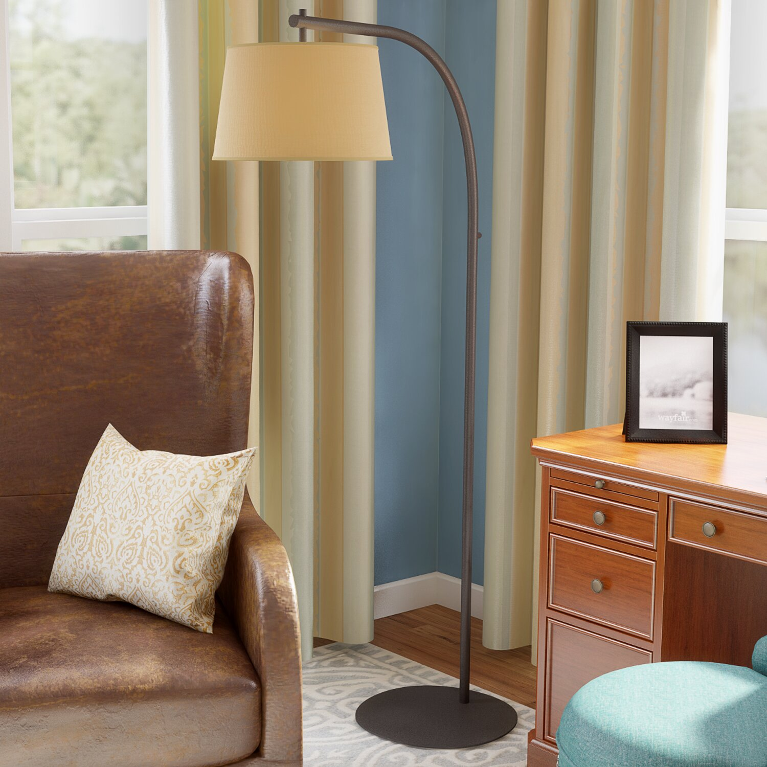 Alcott hill sweep 61 arched floor lamp reviews wayfair for Arch floor lamps for living room
