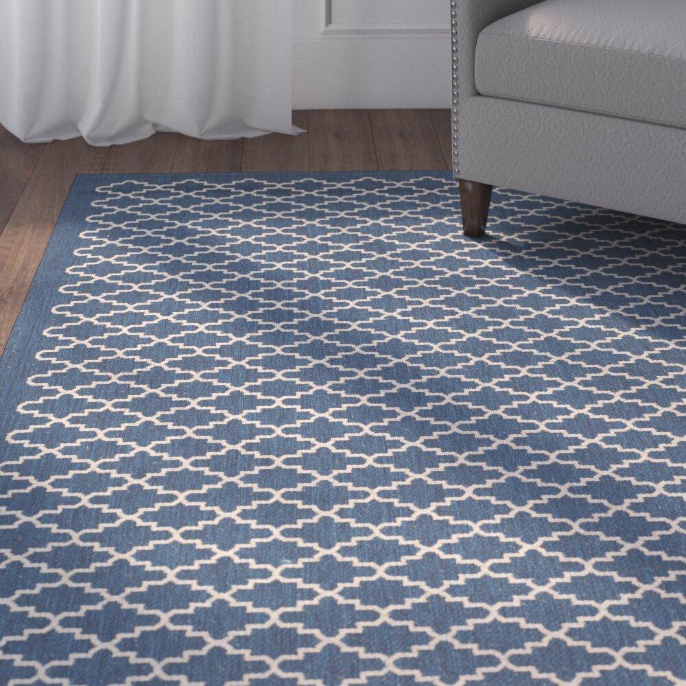 Alcott hill louisville navy beige indoor outdoor area rug for Landscape indoor area rug