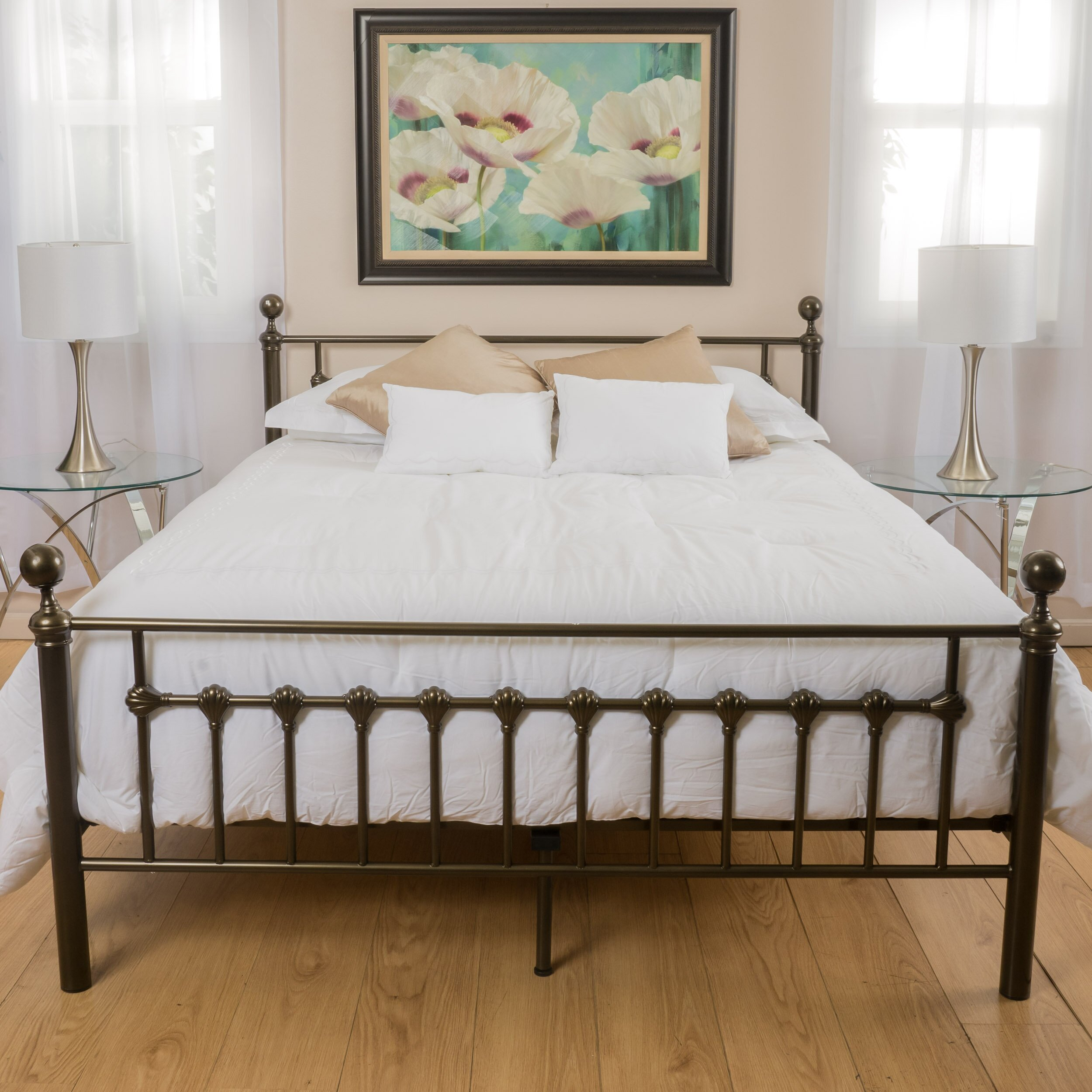 Charlton home keswick copper gold bed frame reviews for Iron bed with storage