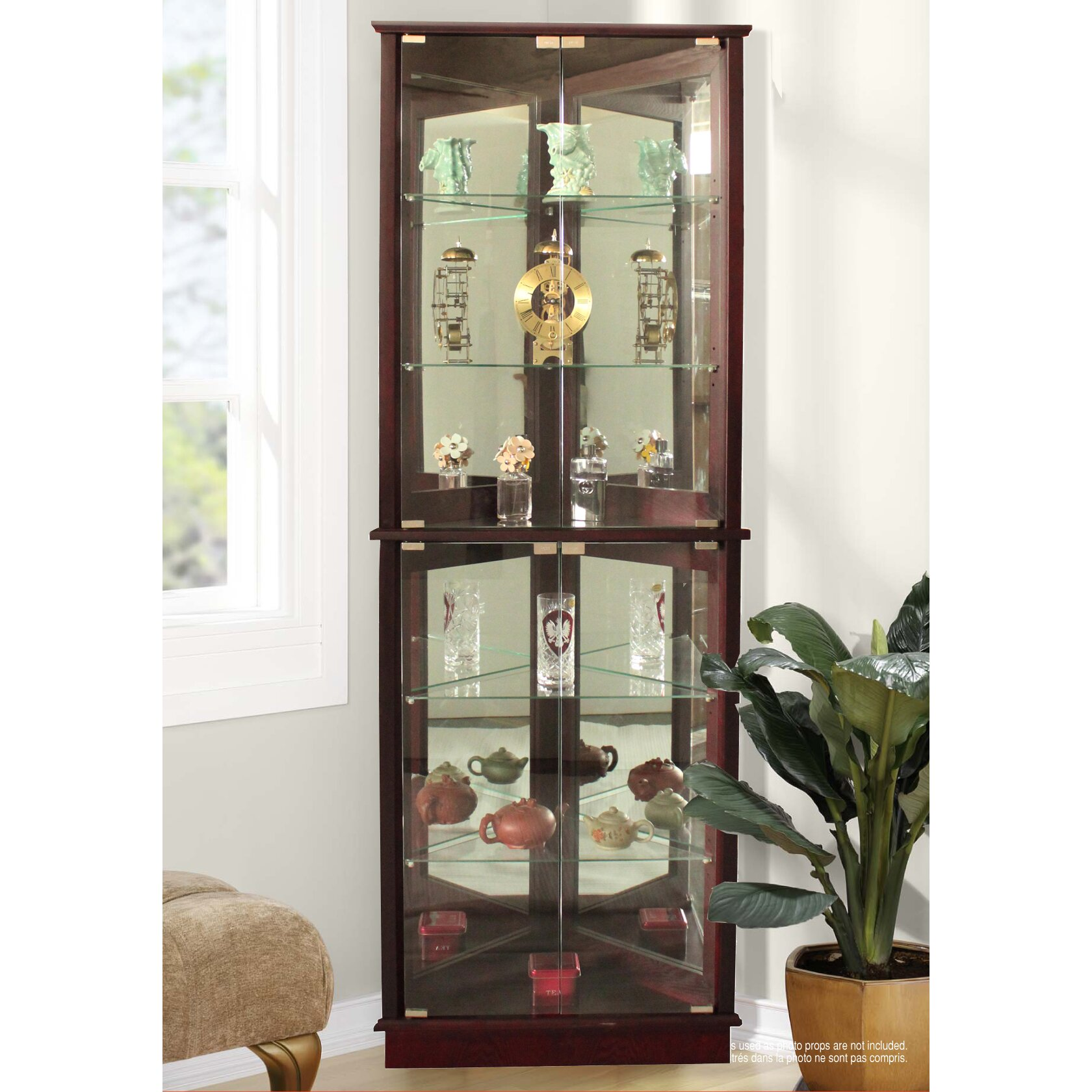 charlton home lohmer corner curio cabi  amp reviews wayfair