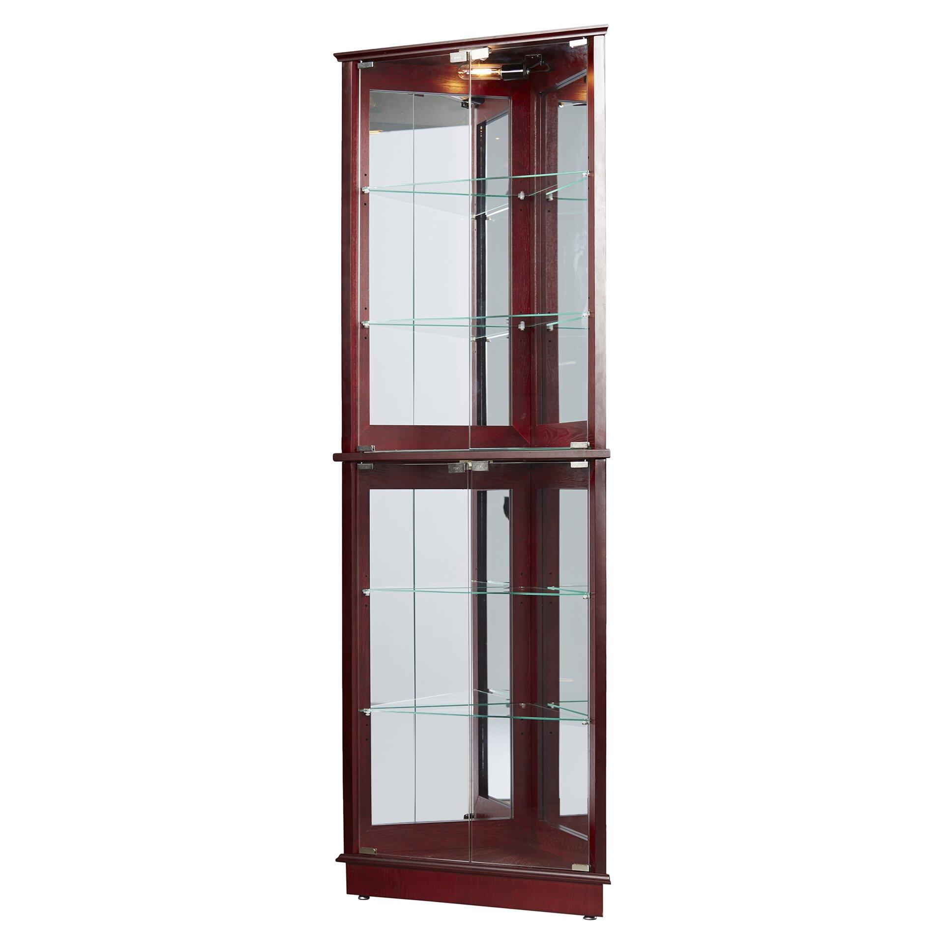 Charlton home lohmer corner curio cabinet reviews wayfair for Curio cabinet